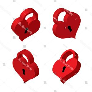 Heart Lock Vector: Love Symbol Valentines Day Padlock And Key Vector Clipart