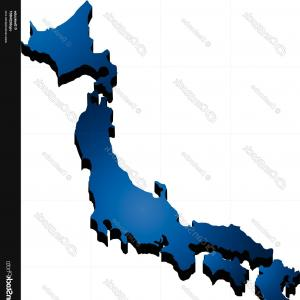 Japan Map Vector: Photostock Vector Semi Abstract Japan Map Eco Islands Fudzijama