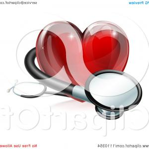 Red Heart Shaped Stethoscope Vector: D Red Medical Heart With A Stethoscope