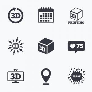 3D Vector Rotation: D Technology Icons Printer Rotation Arrow Vector