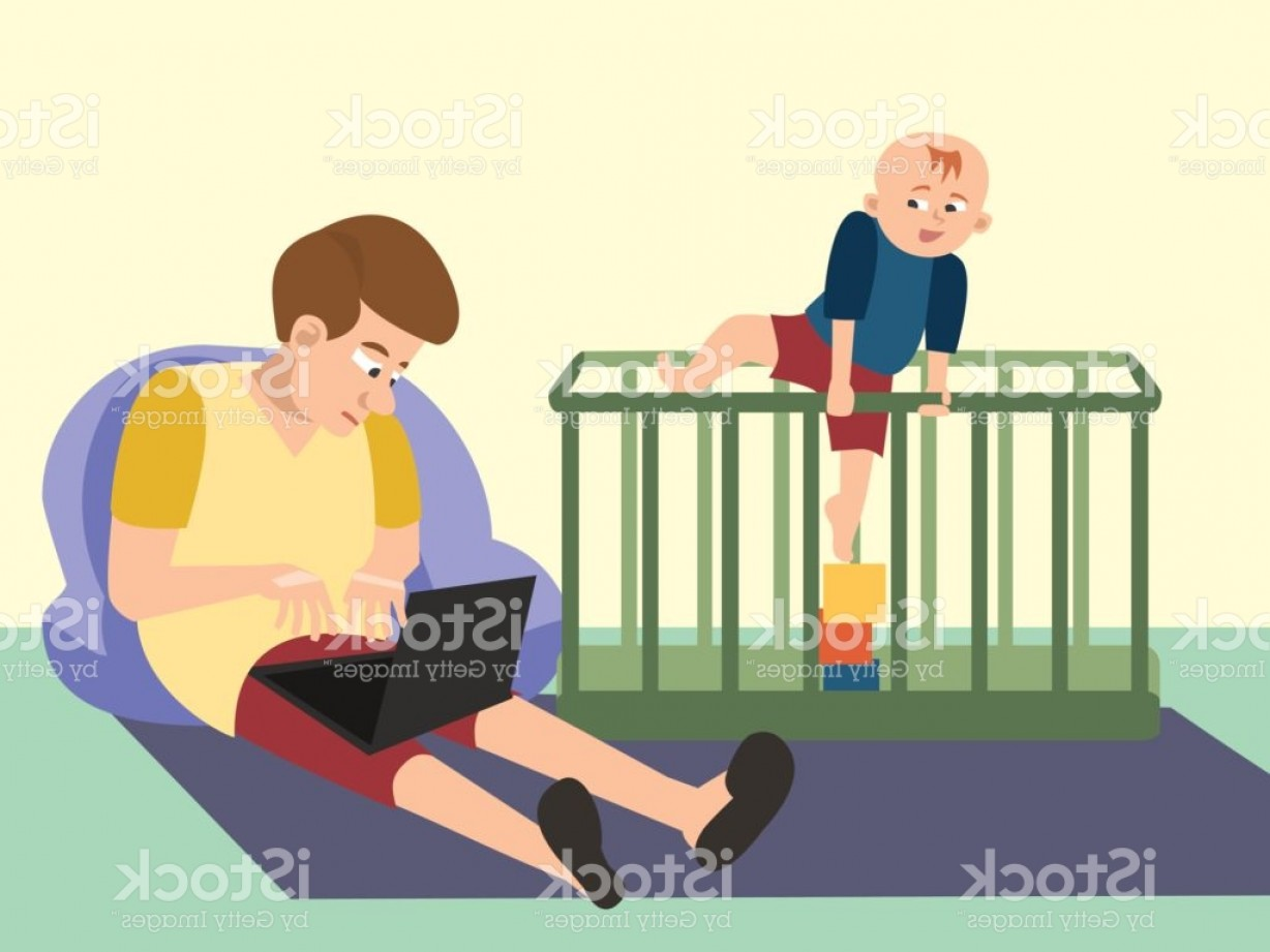 Babysitting In Diapers Vector Black: Dad Babysitting With Toddler Funny Cartoon Gm