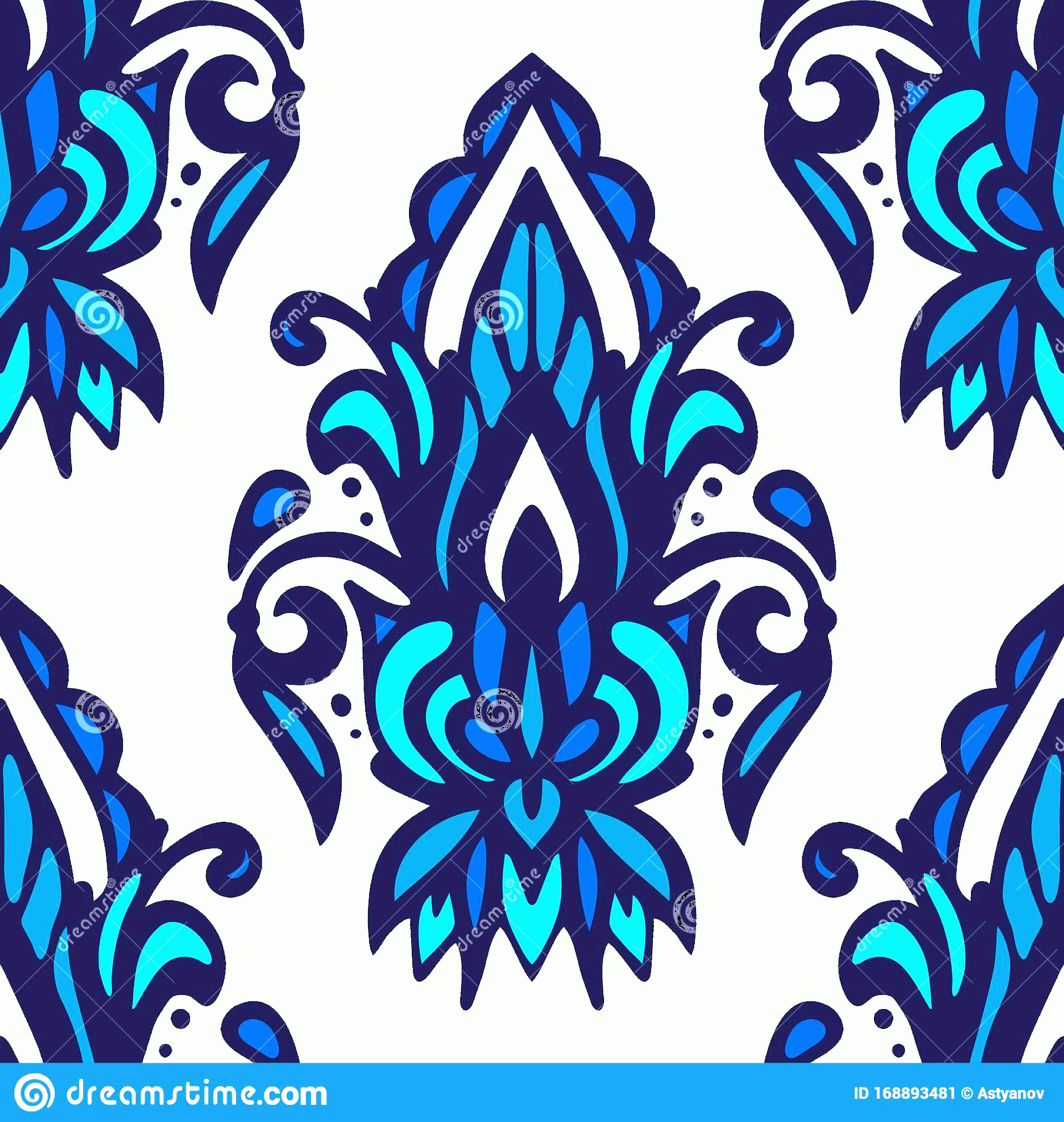 Blue And White Damask Vectors: Damask Flower Vector Seamless Pattern Blue White Tile Flourish Ceramic Arabesque Fabric Image