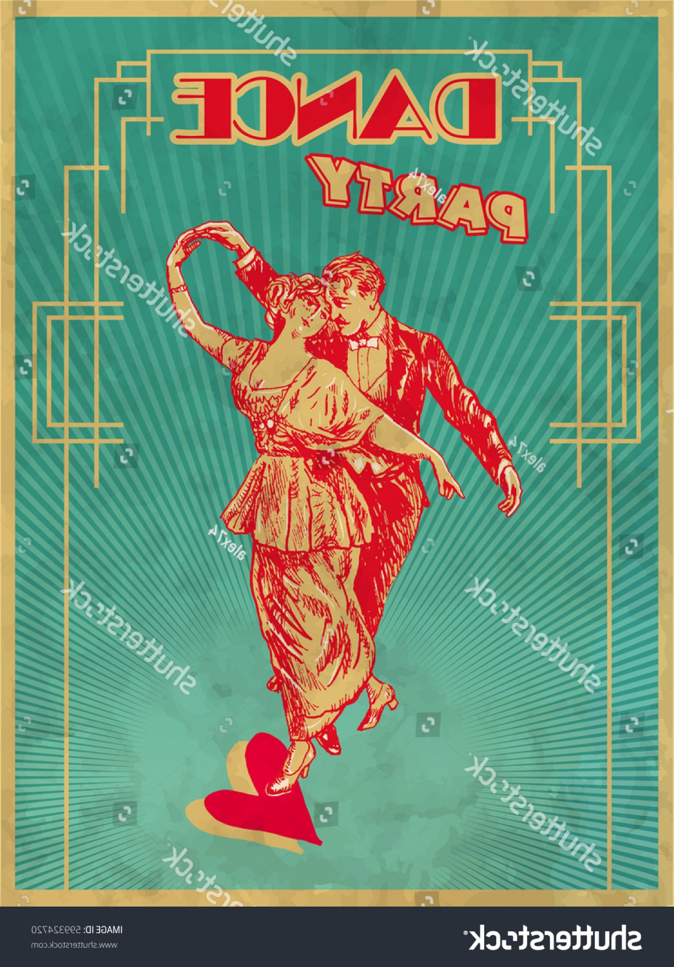 Art Deco Vector Small Posters: Dance Party Poster Design Template Retro