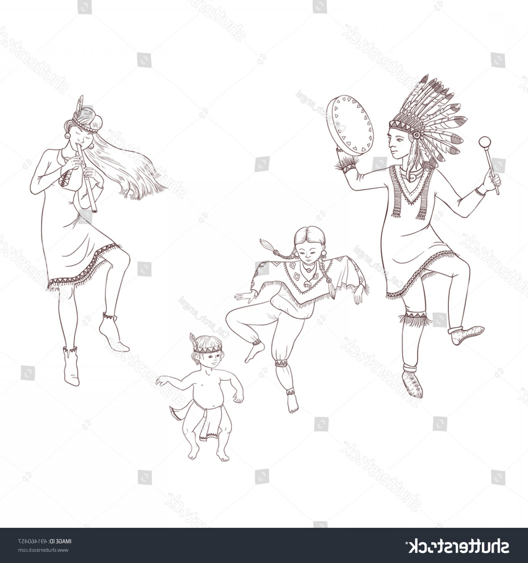 Redneck Family Vector Graphic: Dancing Indian Family Traditional Costume Flute