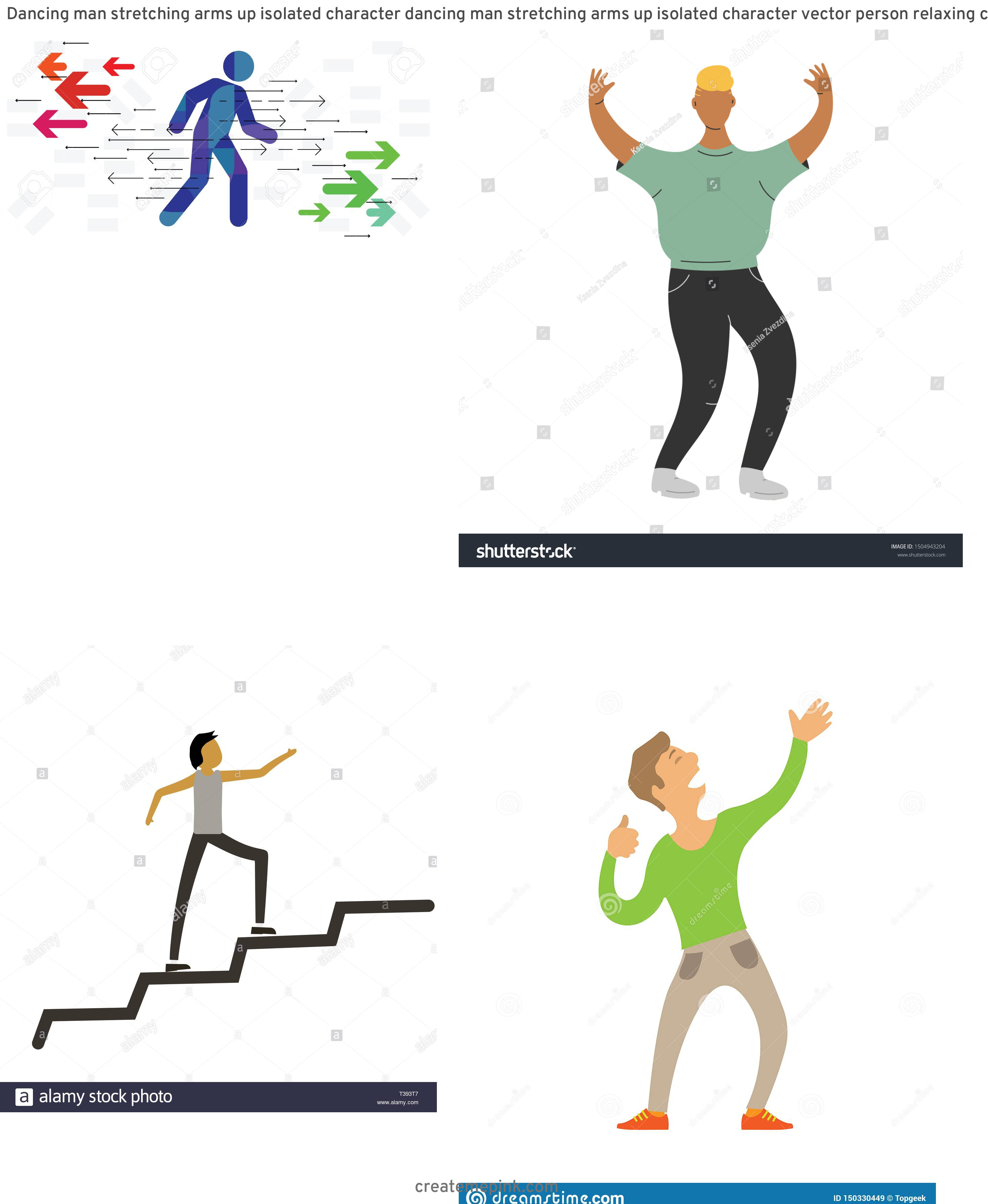 Vector Person Moving: Dancing Man Stretching Arms Up Isolated Character Dancing Man Stretching Arms Up Isolated Character Vector Person Relaxing Club Image