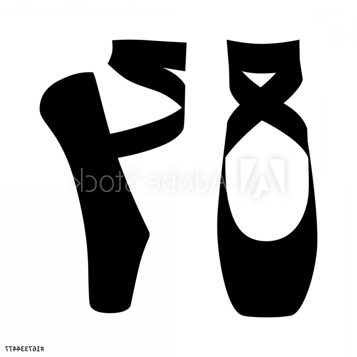 Dance Shoes Vector Art: Dancing Shoes Or Slippers In En Pointe Position Flat Vector Icon F