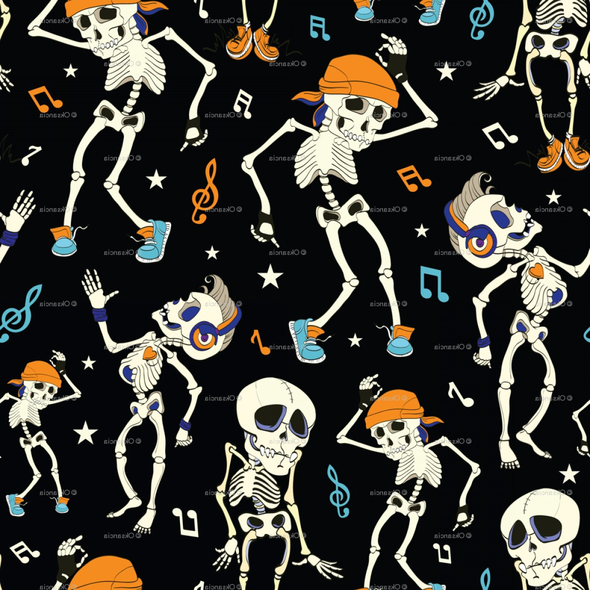 Vector Skeleton Circle Dancing: Dancing Skeletons Party Halloween Seamless Pattern Music Disco Isla Vista California Funny Headpho By Oksancia