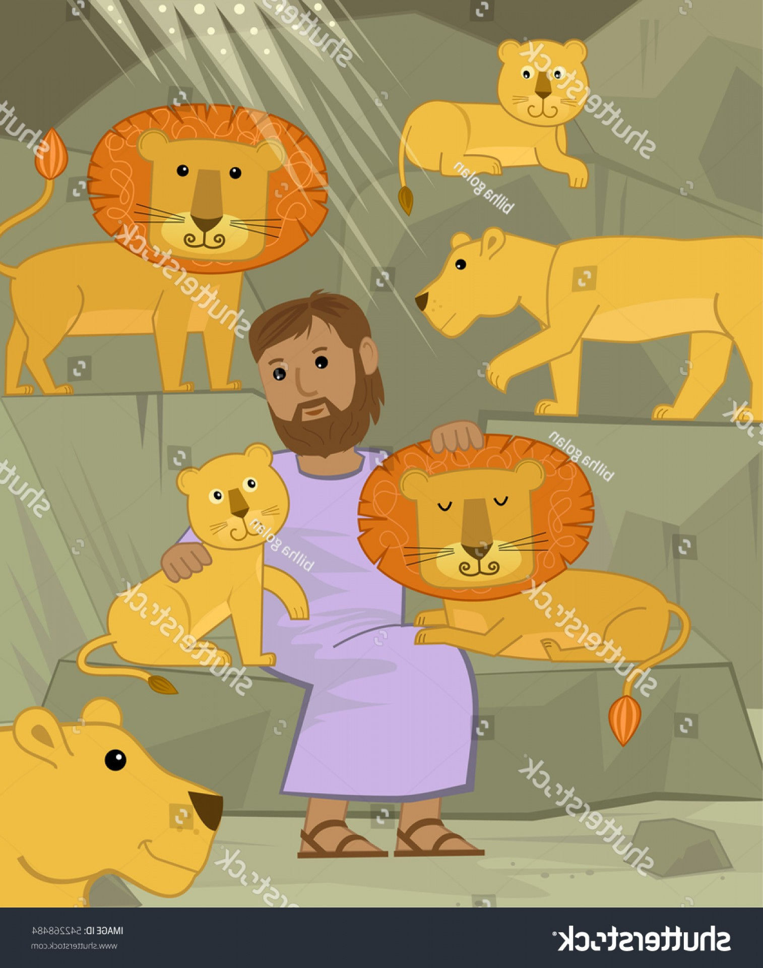 Faith Lions Vector Art Images: Daniel Lions Cute Illustration Den Eps