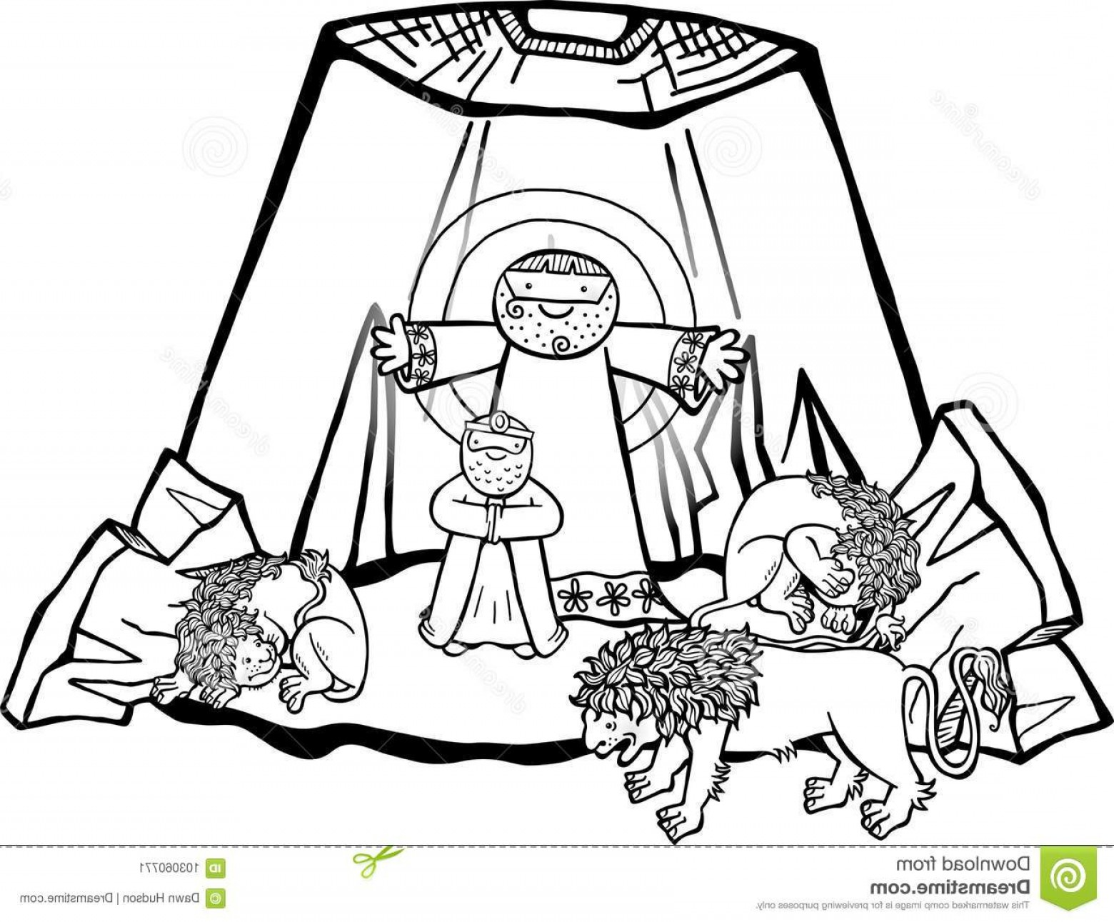 Faith Lions Vector Art Images: Daniel Lions Den Cartoon Illustration Being Delivered Angel Mouths Beasts Black White Version Image