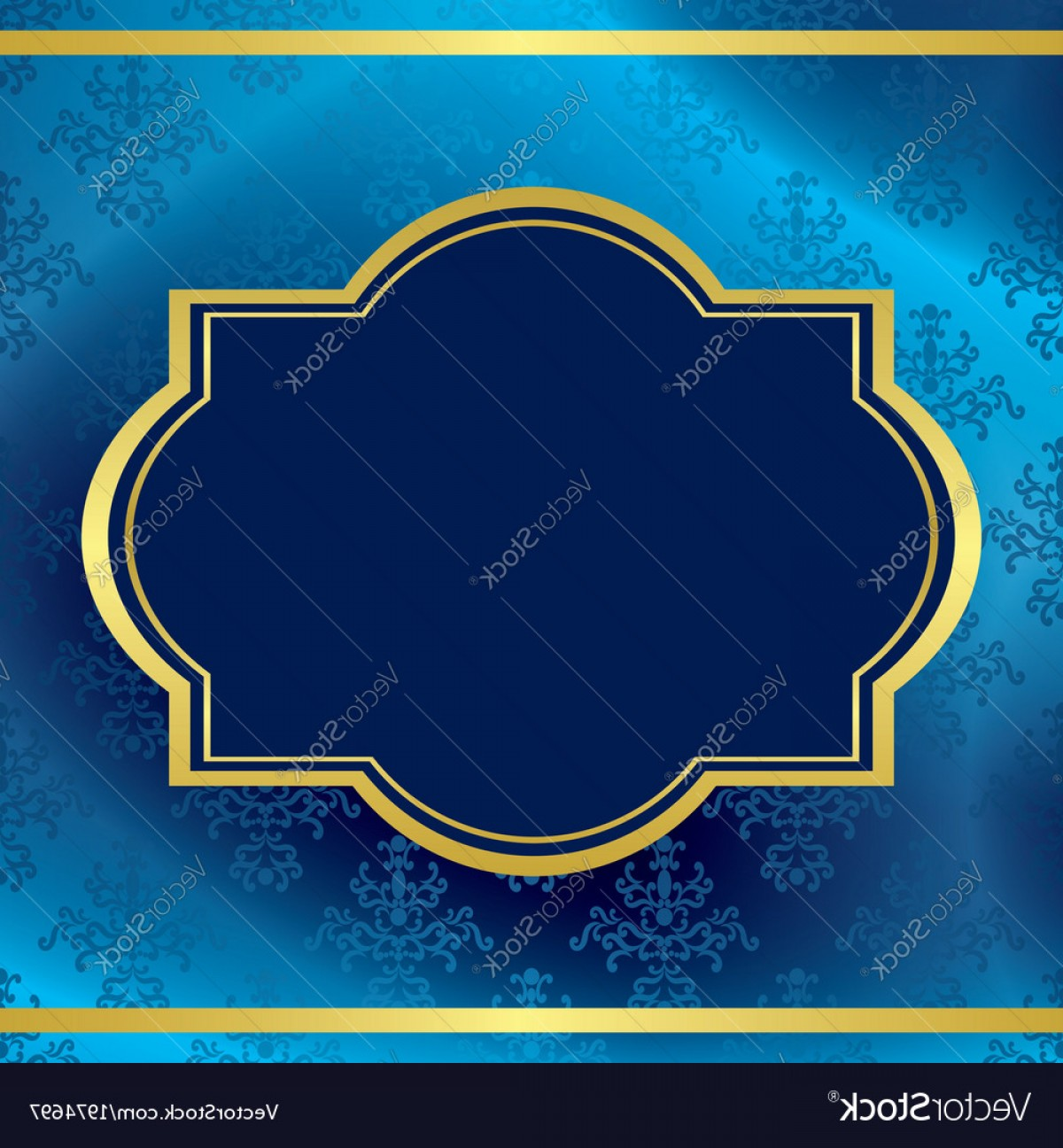 Blue And Gold Border Vector: Dark Blue Background With Gold Frame Vector