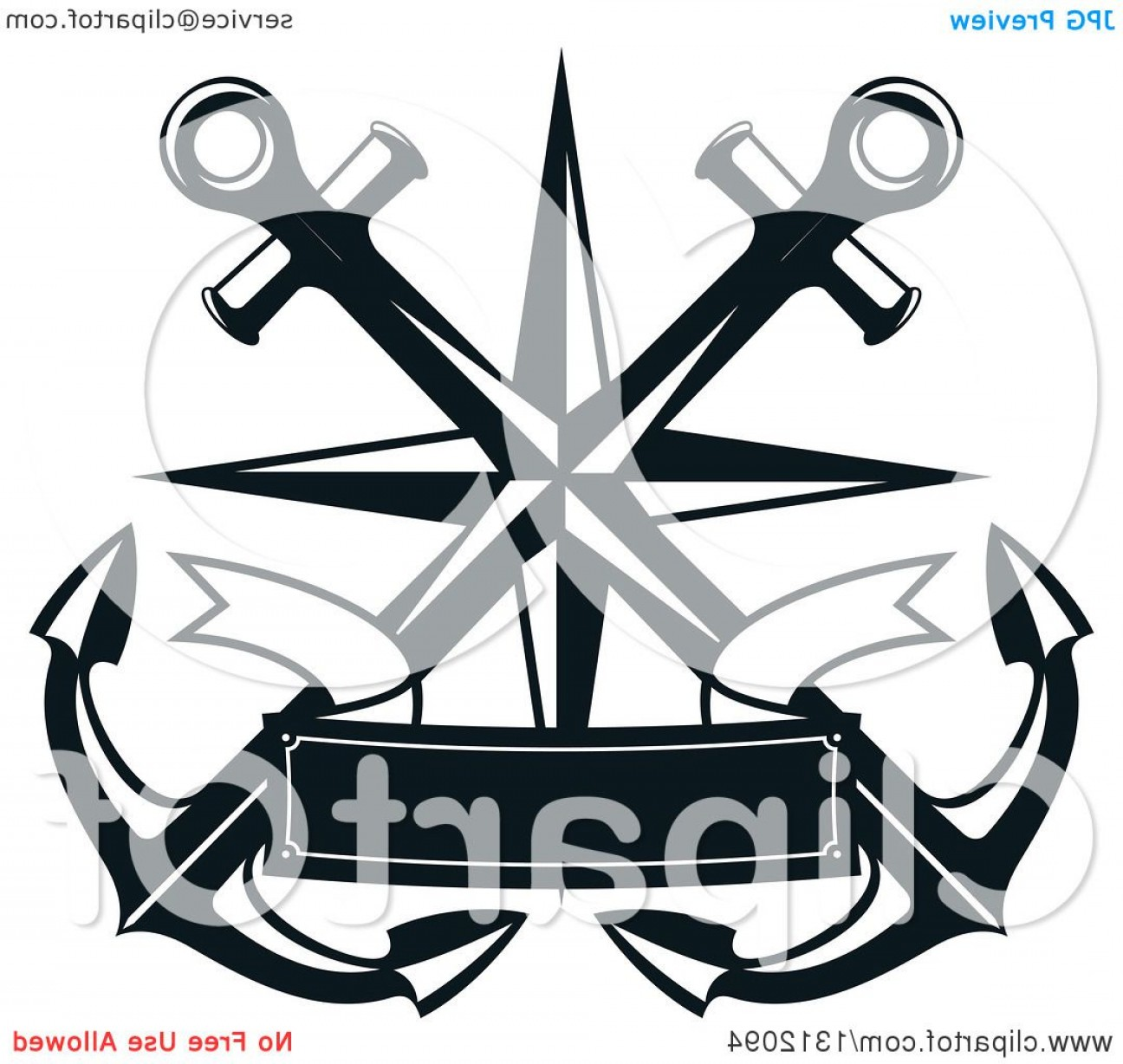 Nautical Star Vector Logo: Dark Blue Crossed Anchors With A Nautical Star And Ribbon Banner