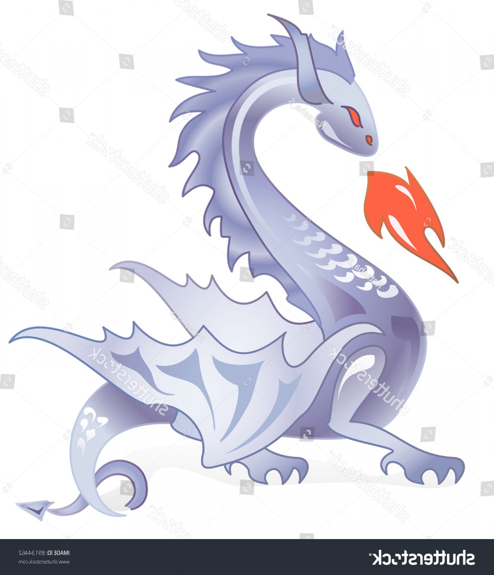 Dragon Fire Vector: Dark Dragon Breathing Fire Vector