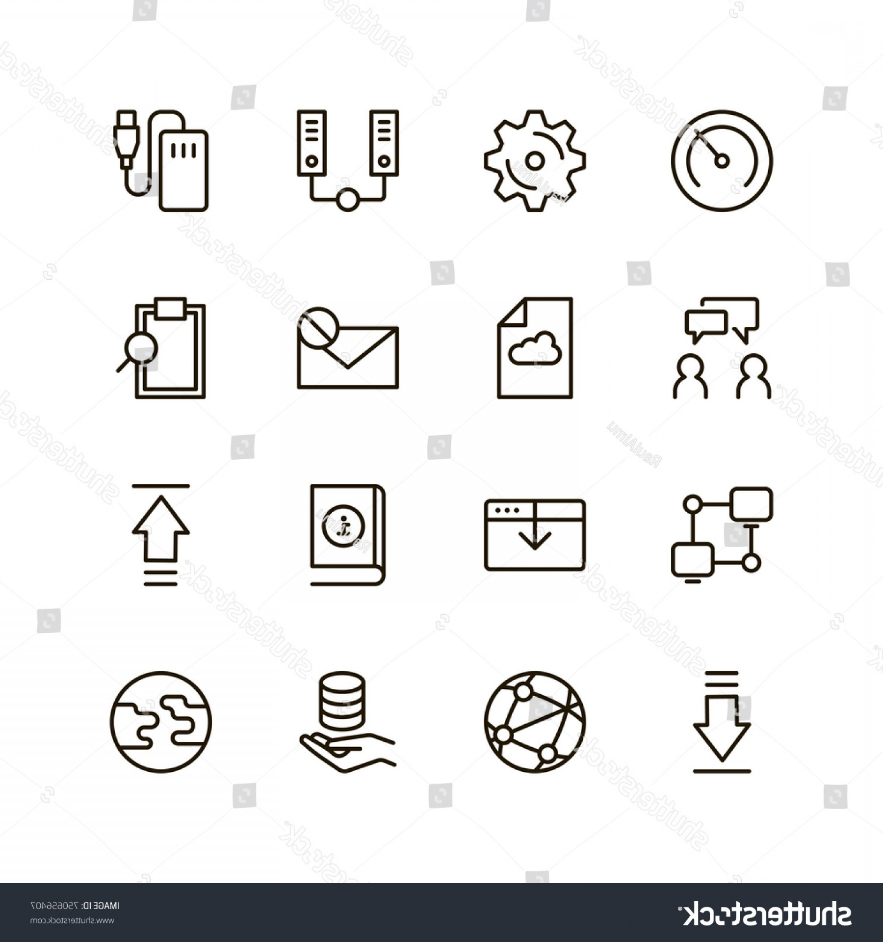 Vector Data Exchange: Data Exchange Icon Set Collection High