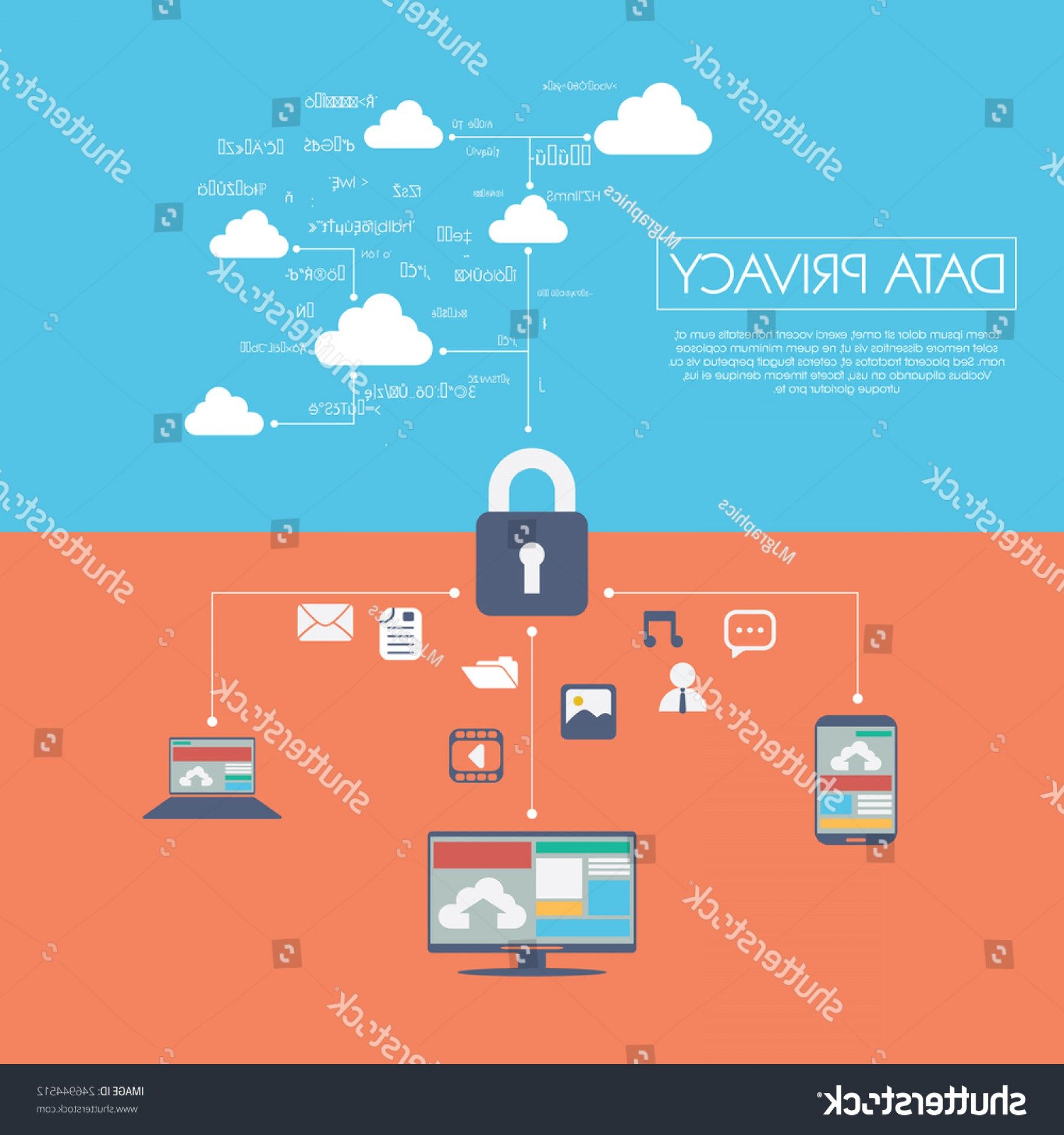 Vector Applications On Computers: Data Privacy Cloud Computing Technology Digital