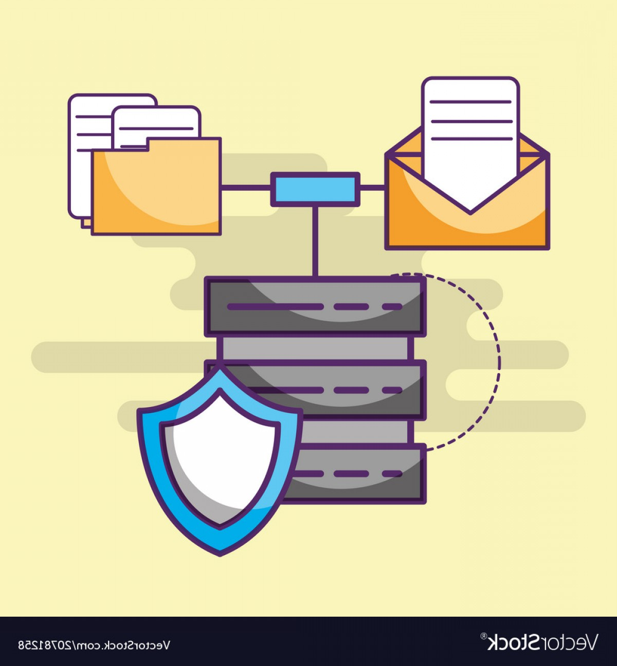 Vector Email Server: Data Server Digital Shield Email And Files Vector