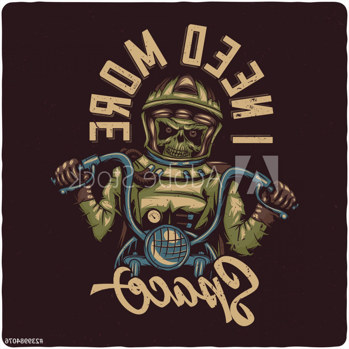 Motorcycle Club Vector: Dead Astronaut On The Motorcycle Vintage Motorcycle Club Vector T Shirt Or Poster Design