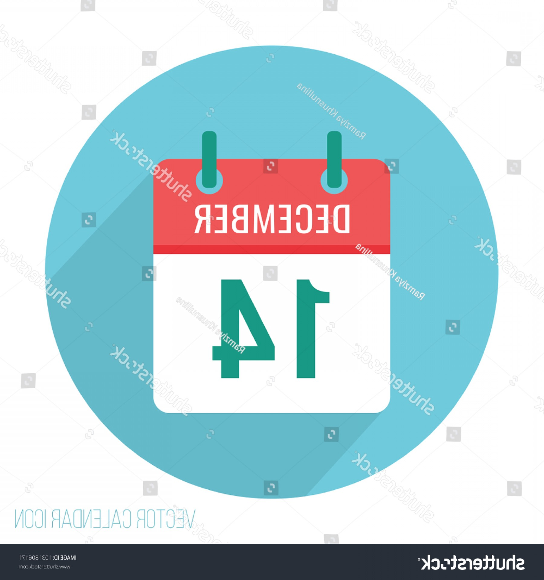 Vector Calendar Icon December 14th: December Calendar Icon Flat