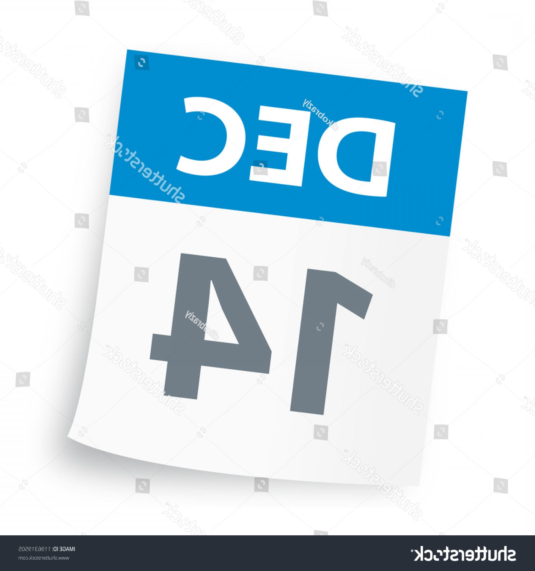 Vector Calendar Icon December 14th: December Calendar Icon Vector Illustration