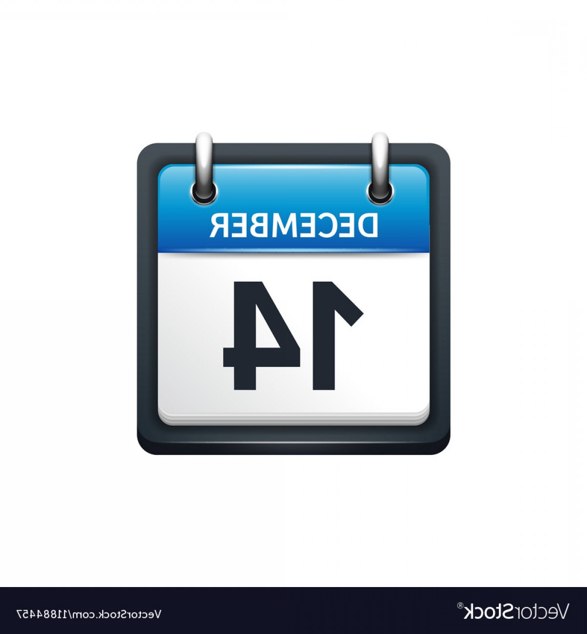 Vector Calendar Icon December 14th: December Calendar Icon Vector