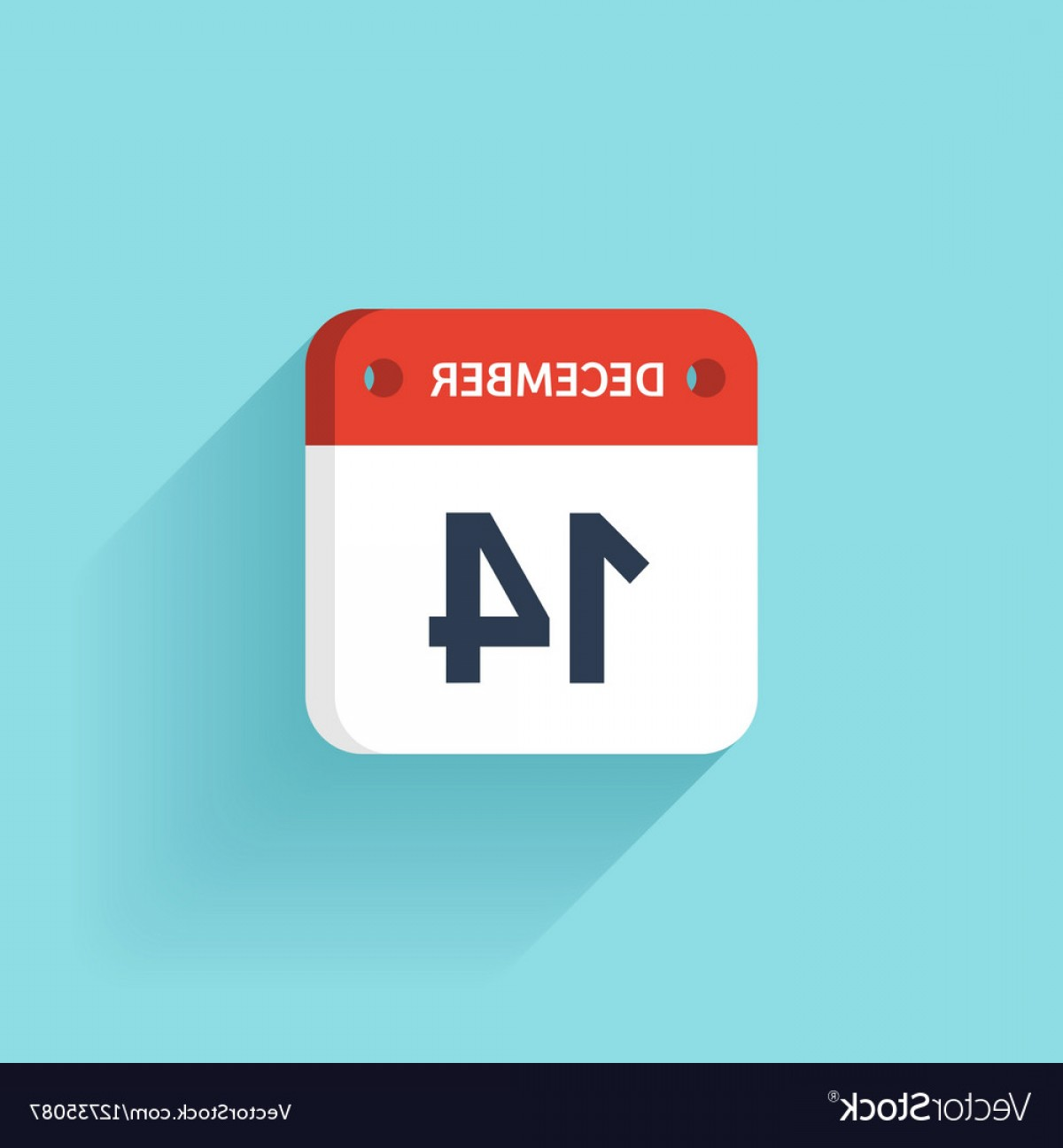 Vector Calendar Icon December 14th: December Isometric Calendar Icon With Shadow Vector