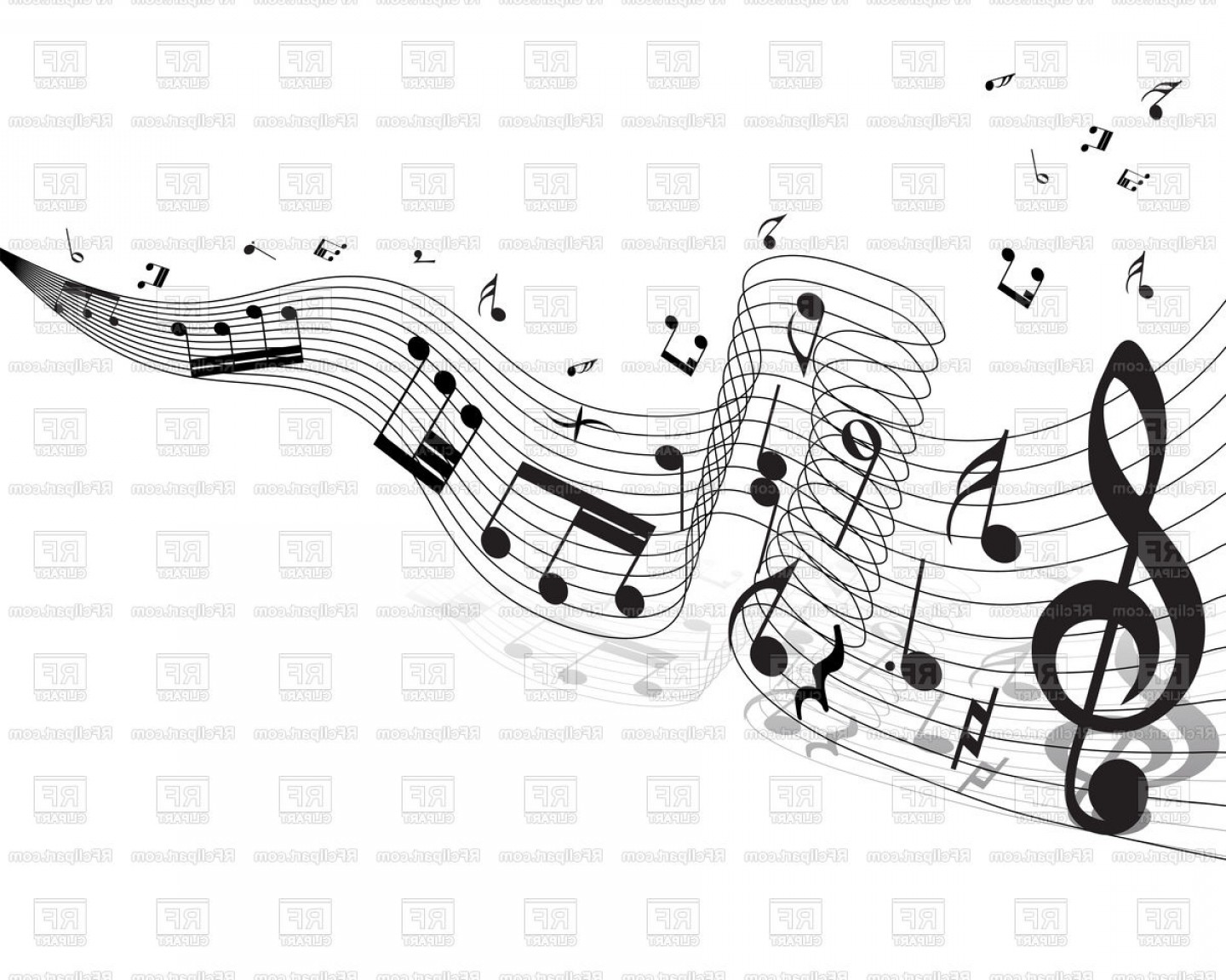 Musical Vector Artwork: Decorative Background With Musical Notes Vector Clipart