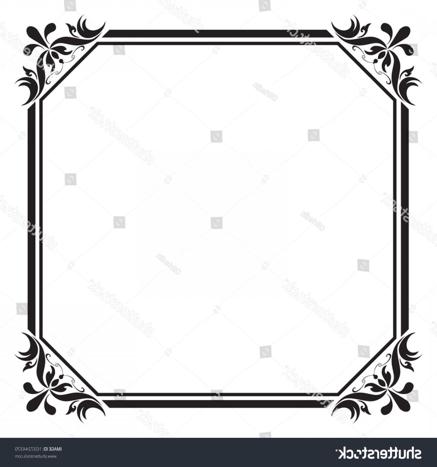 Square Black Vector Border Frame: Decorative Frame Border Square Black White