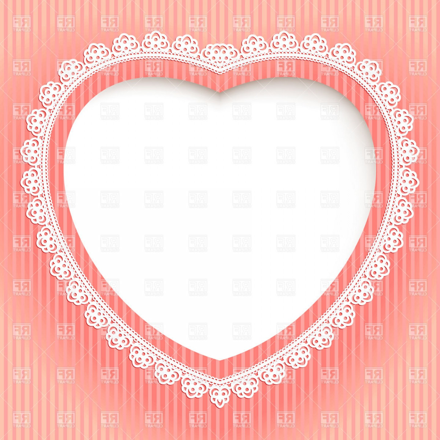 Heart Card Vector: Decorative Heart Shaped Lace Frame Festive Card Template Vector Clipart