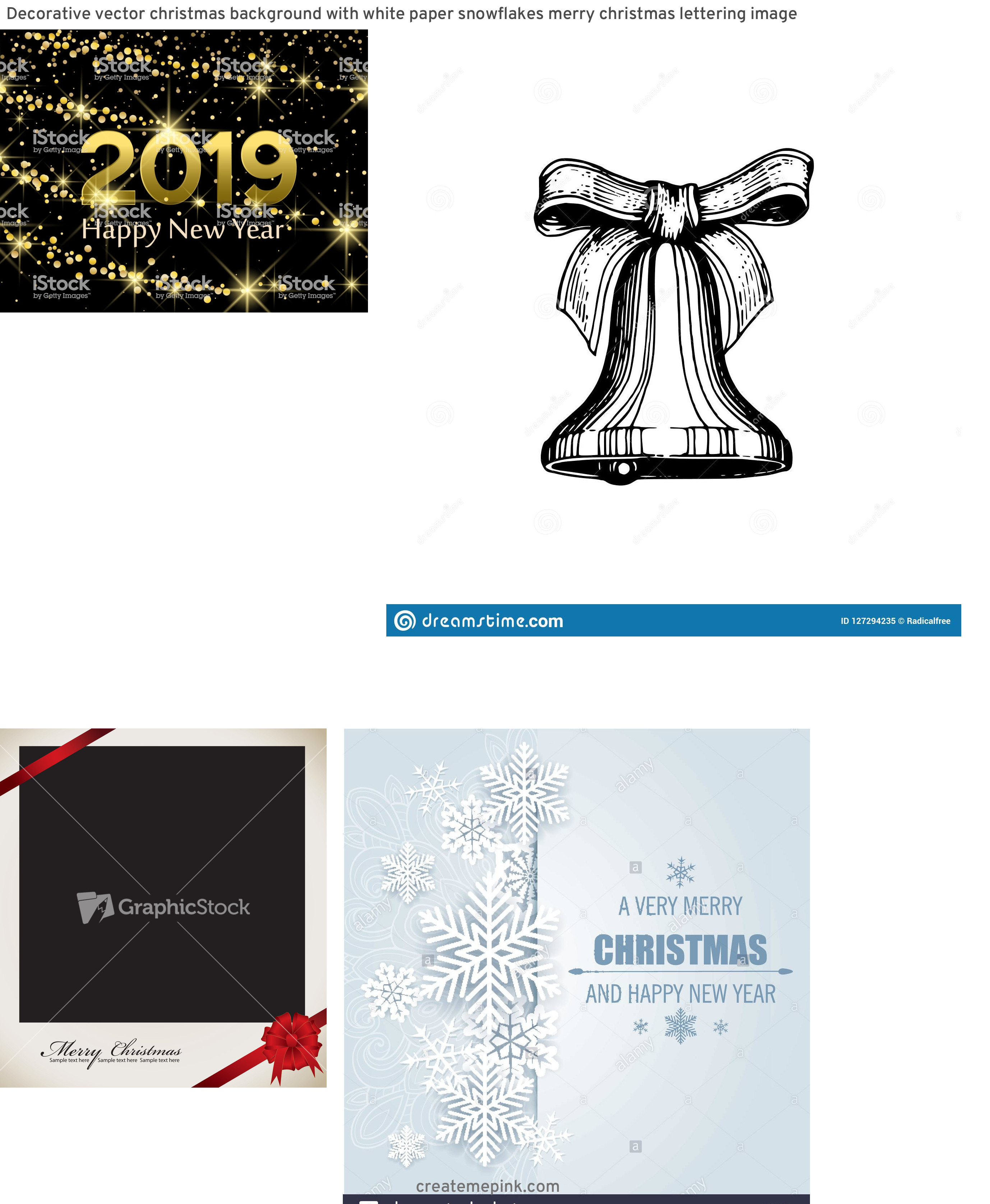 Vector Christmas Background Cross: Decorative Vector Christmas Background With White Paper Snowflakes Merry Christmas Lettering Image