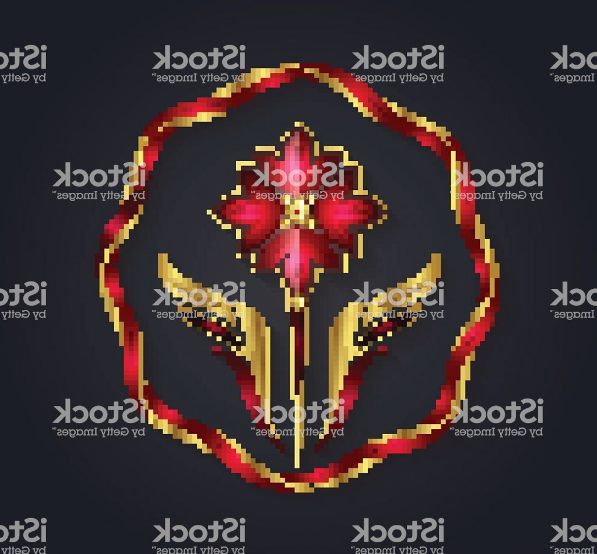 Ruby Royalty Free Vector Graphics: Decorative Vector Graphic Golden And Ruby Flower Shaped Symbol Gm