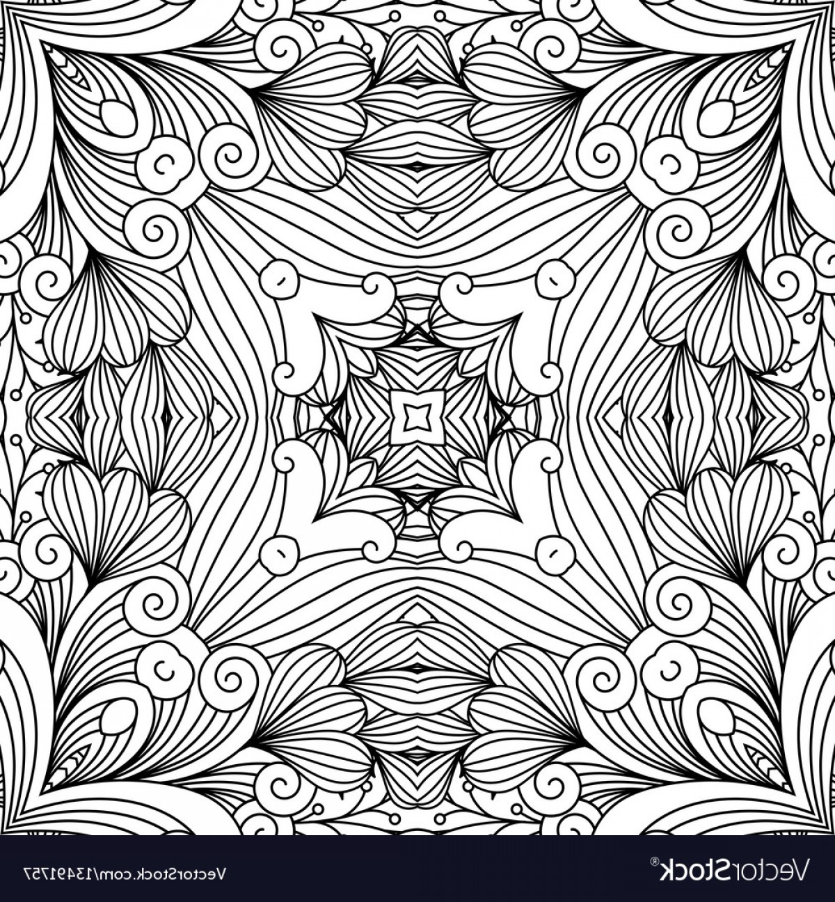 Zentangle Vector: Decorative Zentangle Swirl Pattern Vector