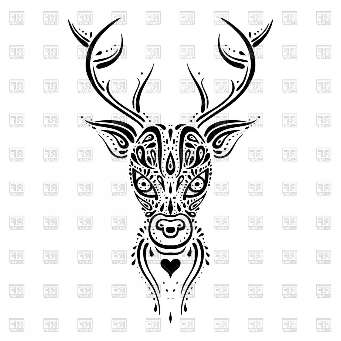 Deer Head Silhouette Vector Clip Art: Deer Head Ethnic Tribal Ornament Tattoo Tracery Vector Clipart