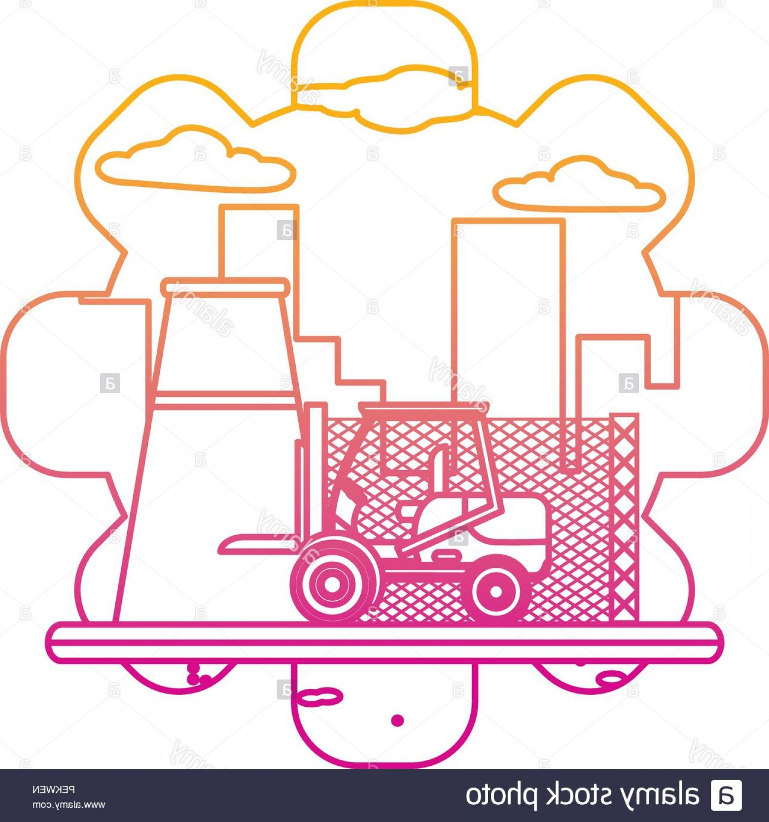 Wen Vehicle Vector Art: Degraded Line Industry Factory And Forklift Construction Machine Image