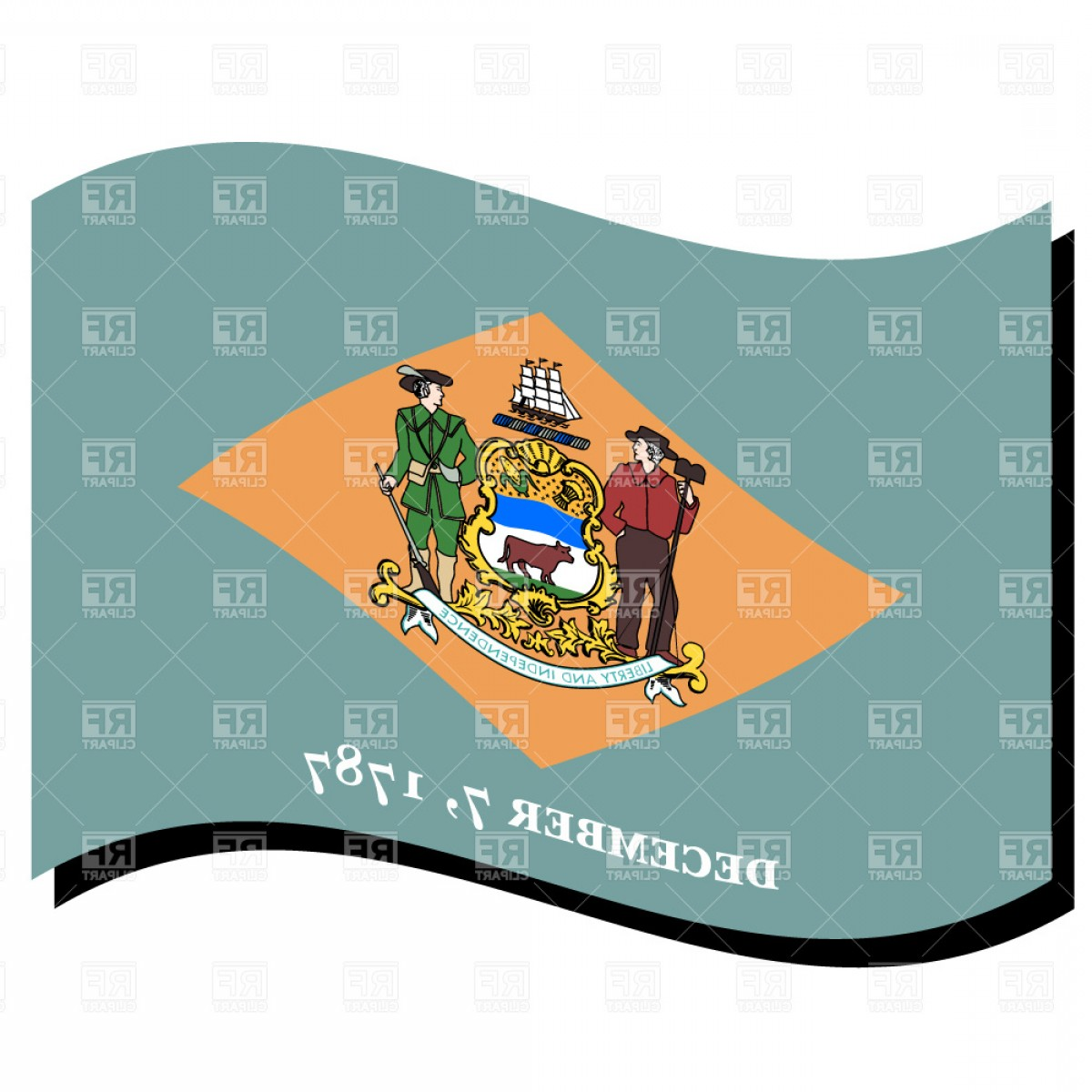 State Flag Images Vector: Delaware State Flag Vector Clipart