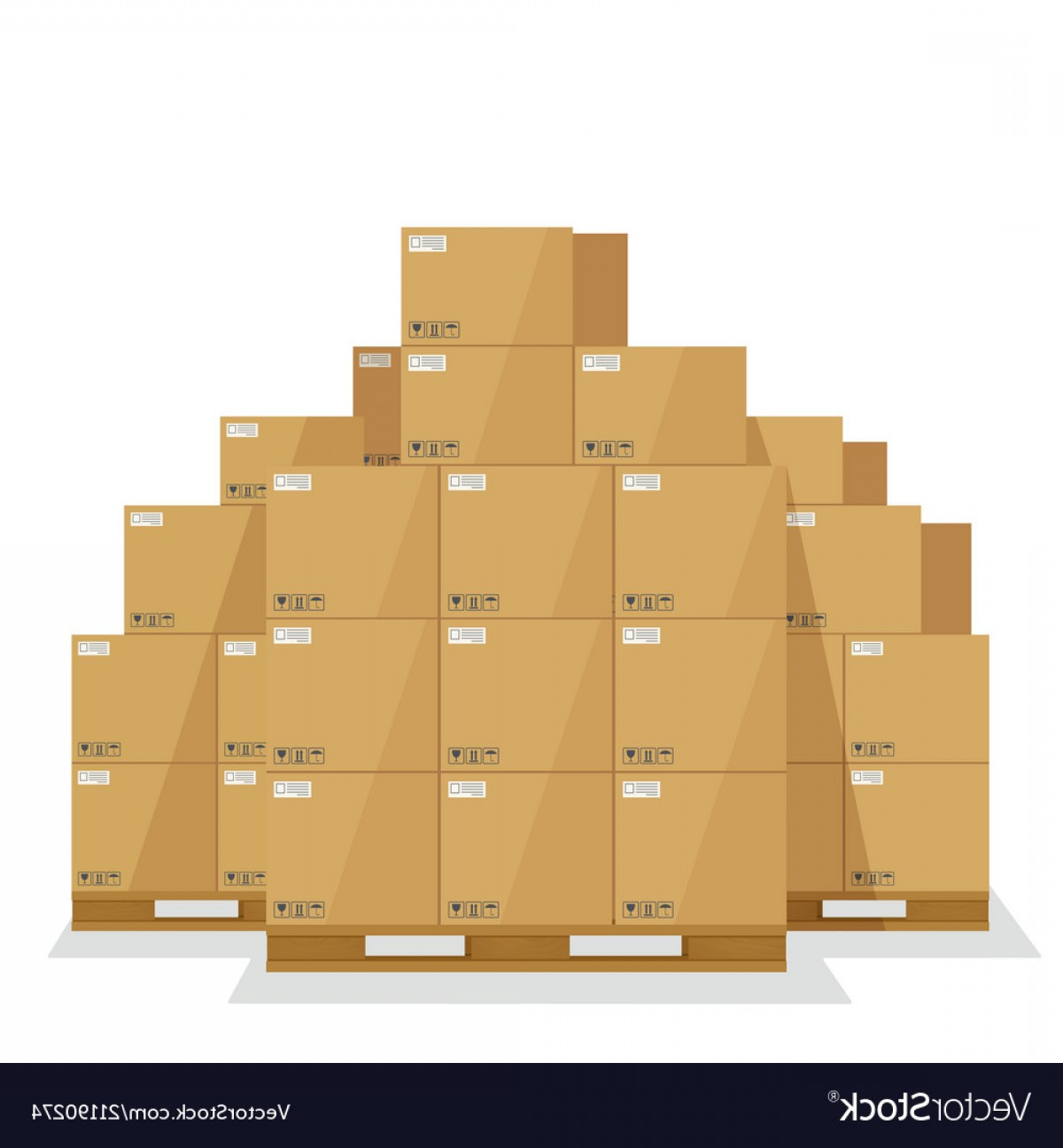 Pallet Vector Graphic: Delivery Boxes On A Wooden Pallet Vector