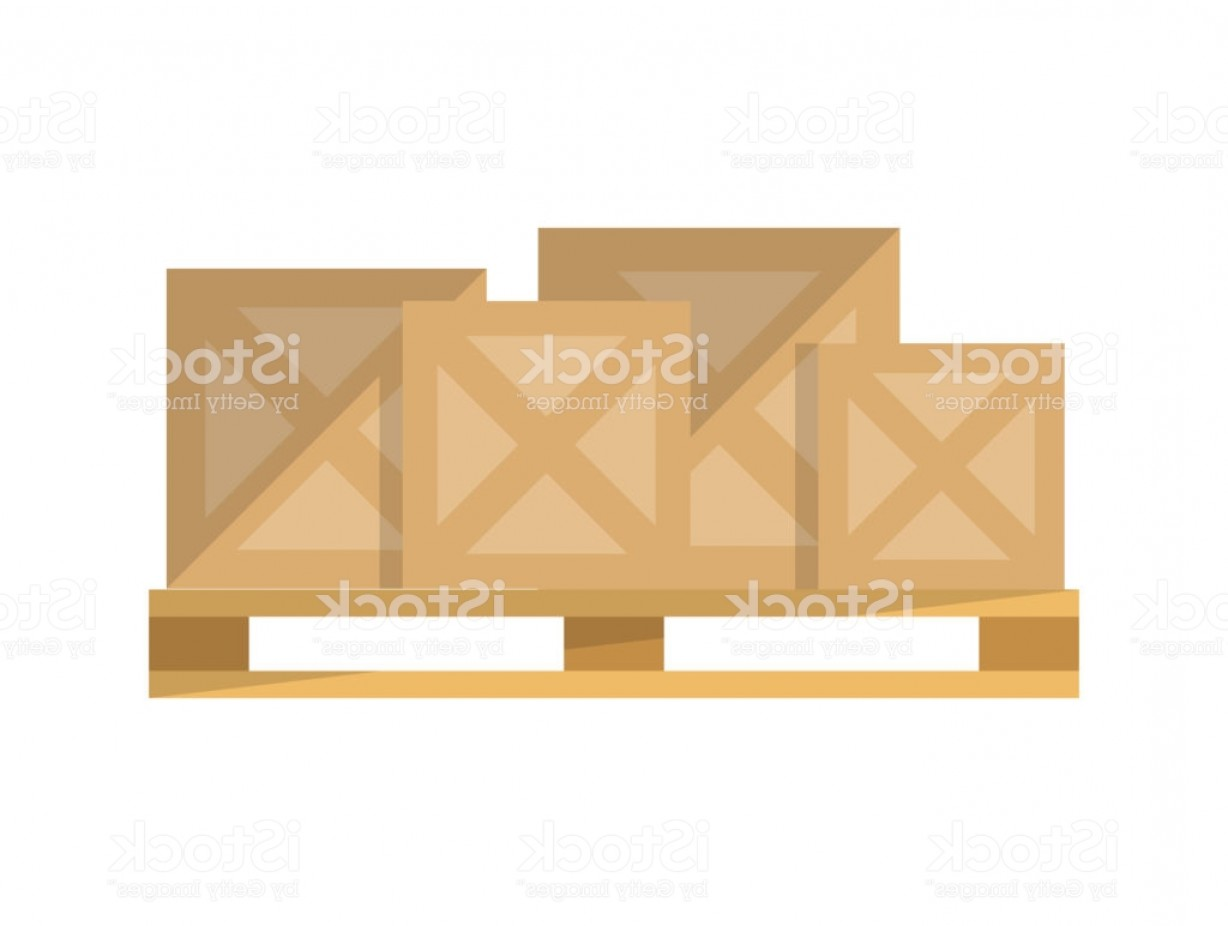 Pallet Vector Graphic: Delivery Boxes On Pallet Vector Icon Gm