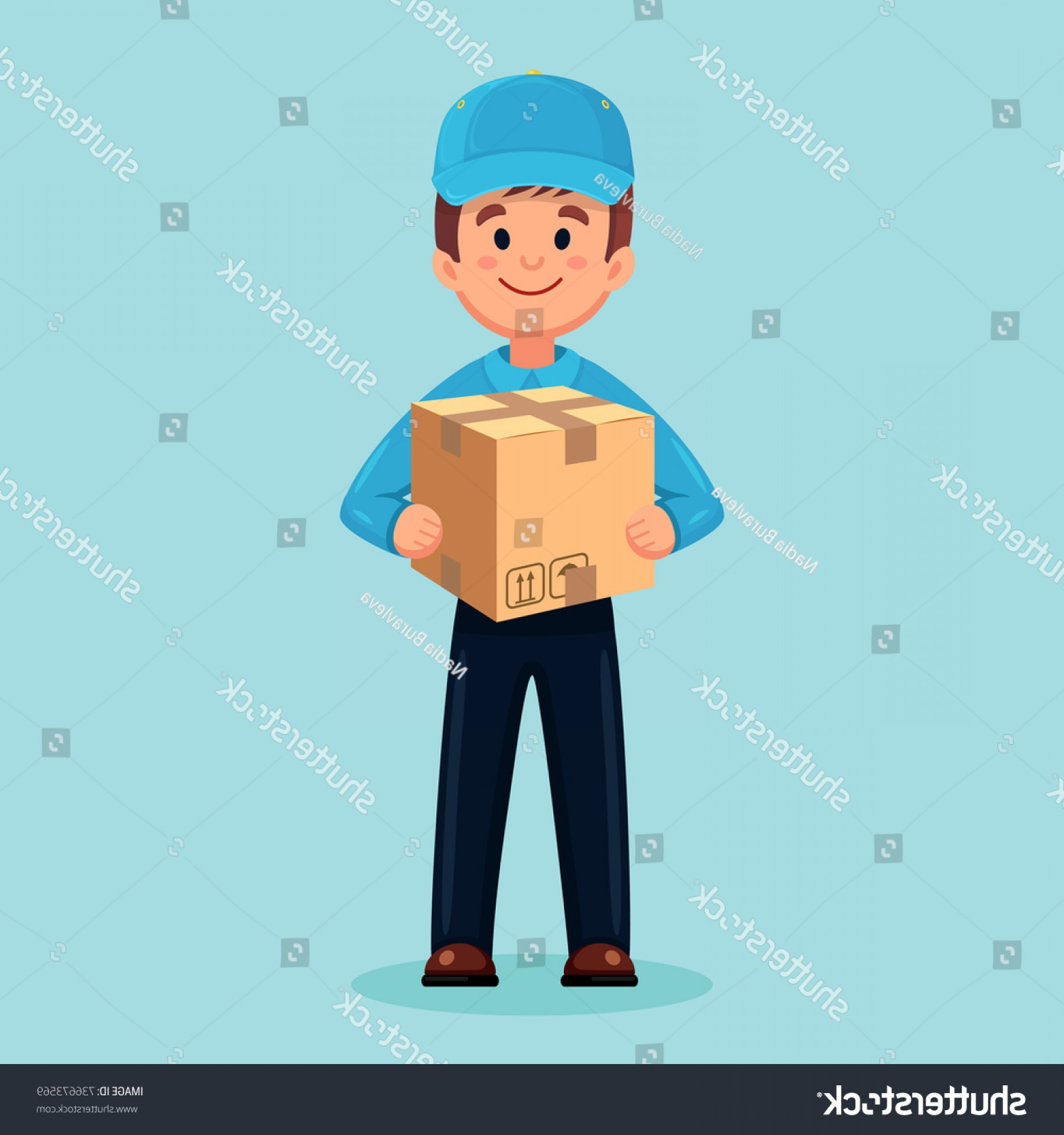 Vector Organisms On A Person: Delivery Man Guy Cardboard Box Postman