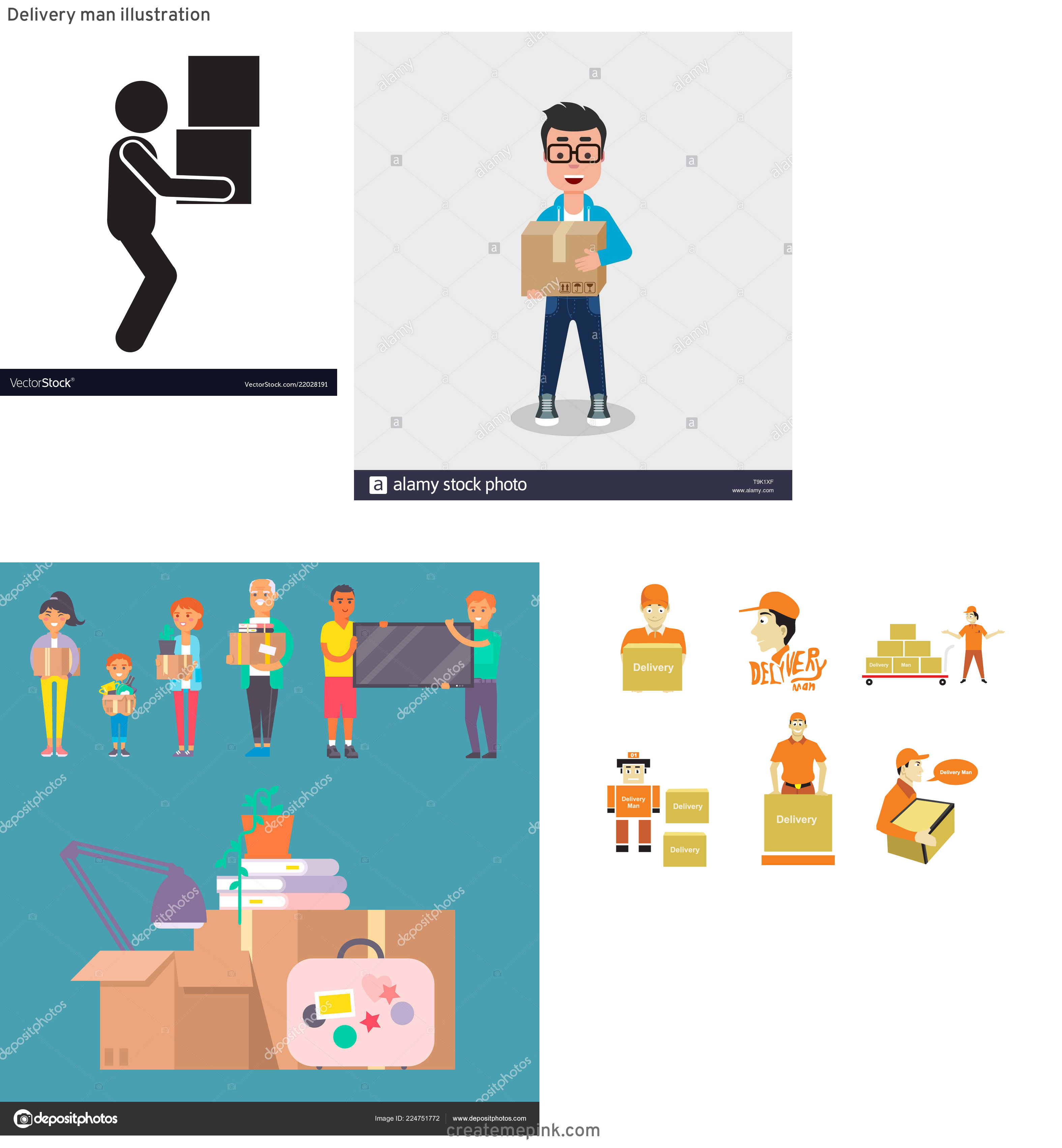 Vector Person Moving: Delivery Man Illustration