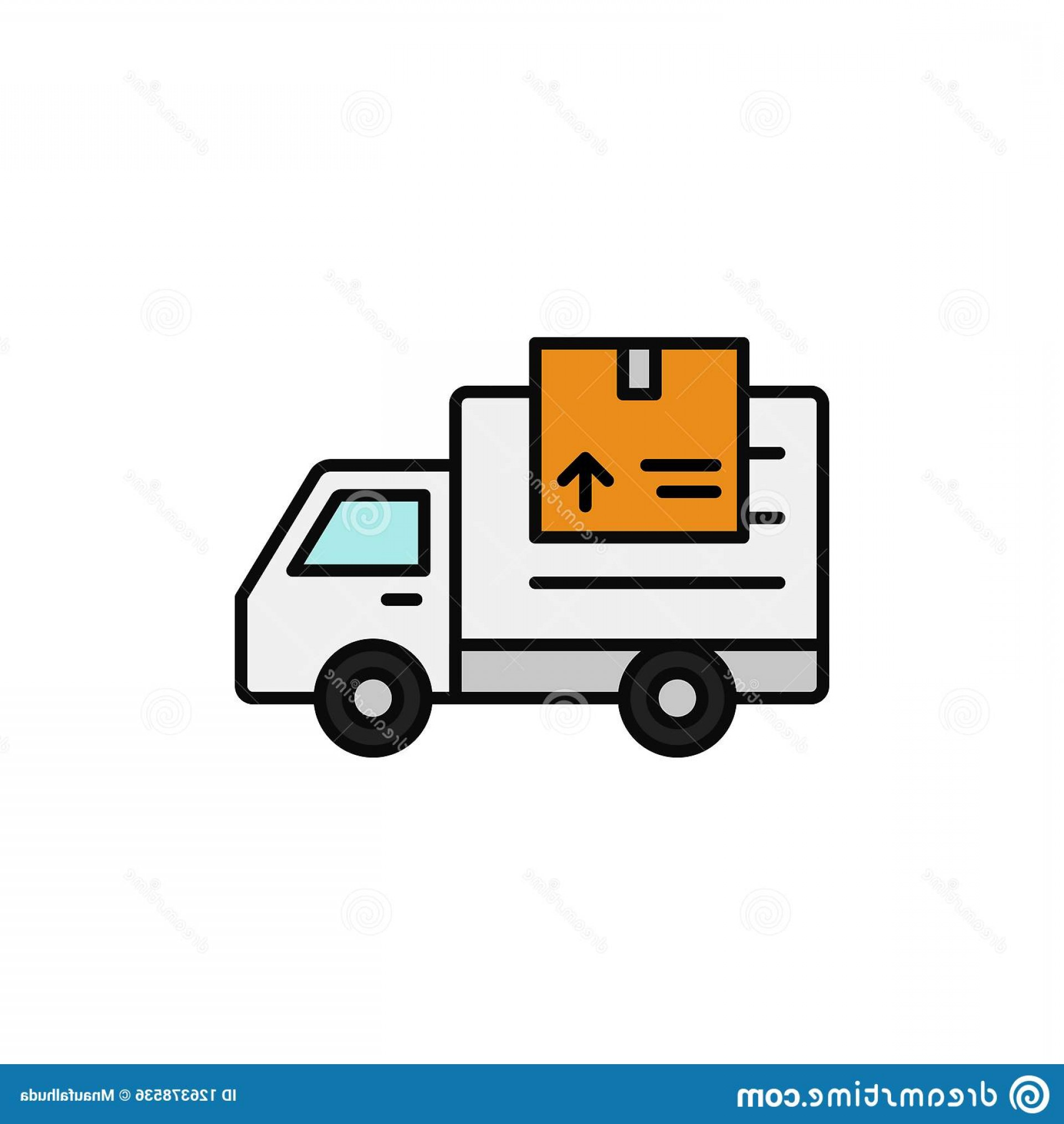 Packages On A Truck Vector: Delivery Truck Package Icon Shipment Item Transportation Illustration Simple Outline Vector Symbol Design Delivery Truck Image