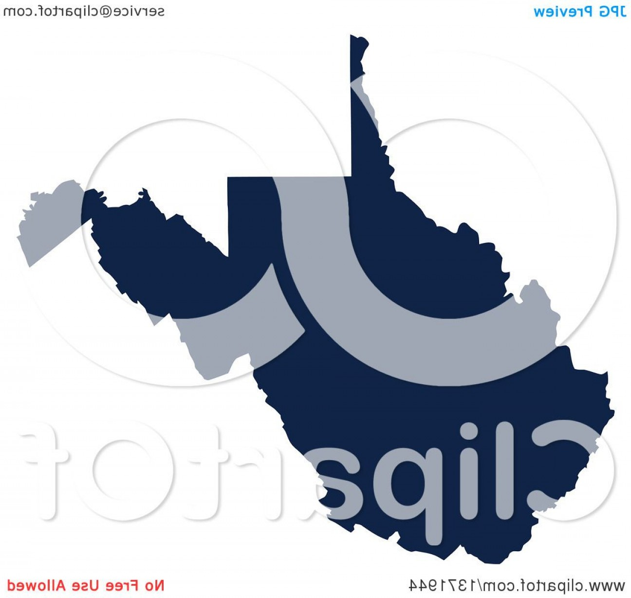 Virginia Vector: Democratic Political Themed Navy Blue Silhouetted Shape Of The State Of West Virginia Usa
