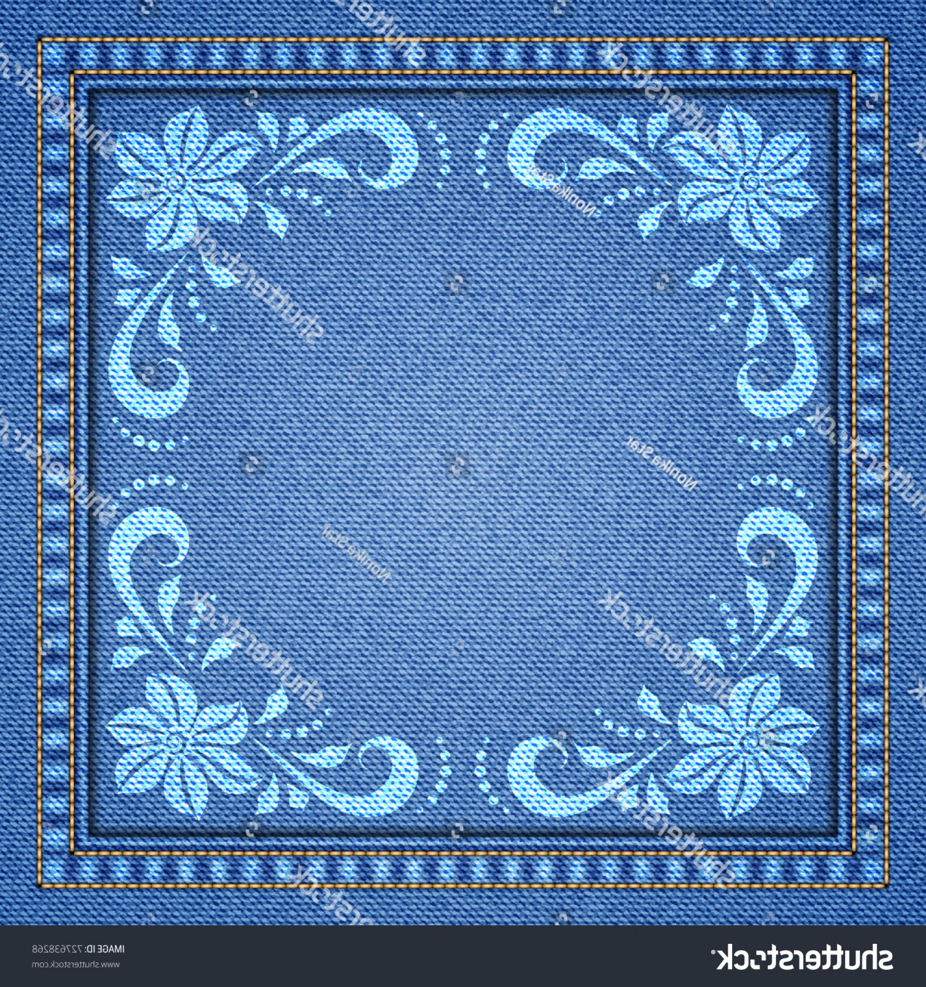 Denim And Pearls Vector: Denim Background Decorative Seams Floral Ornament