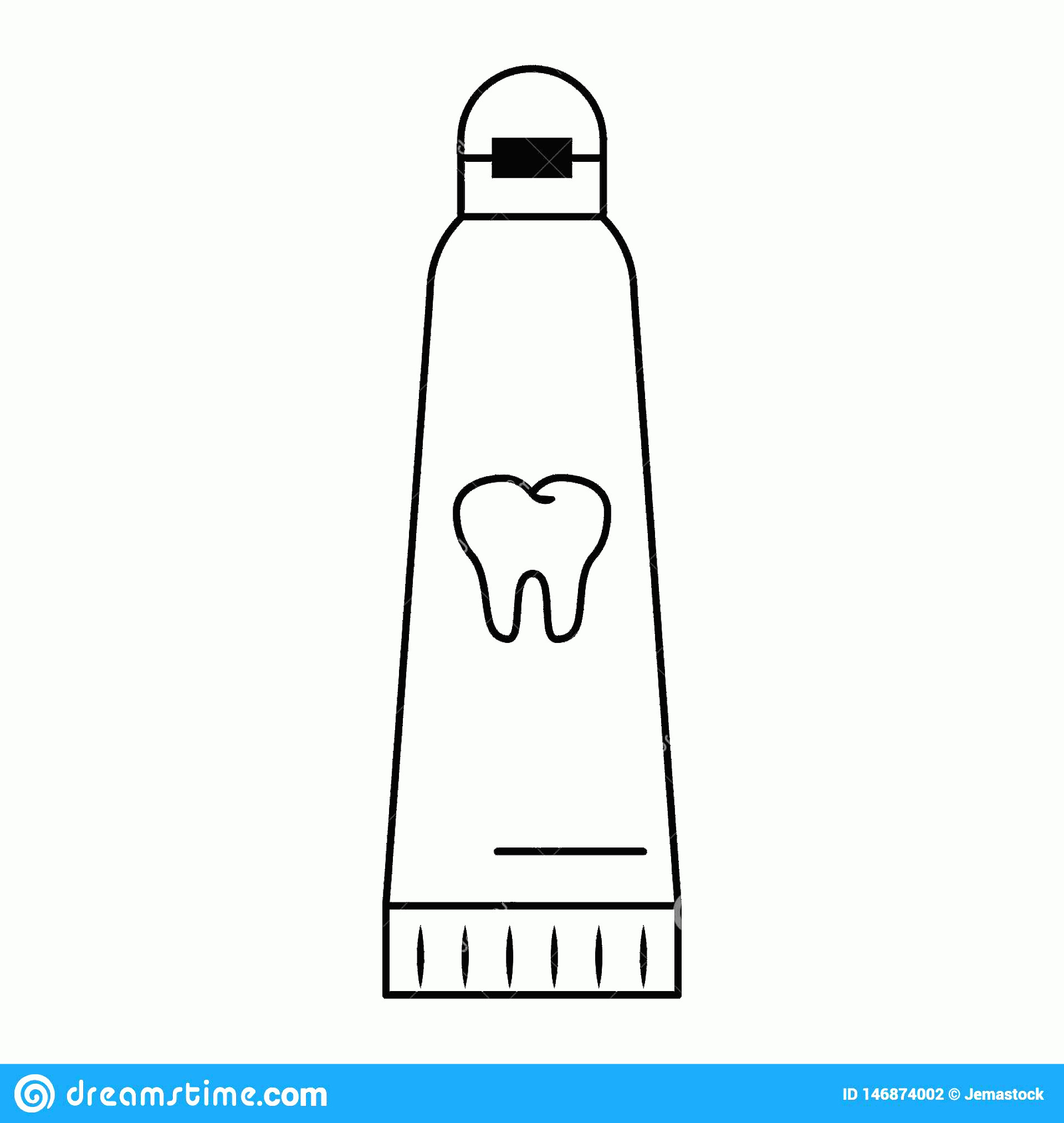 Toothpaste Cartoon Vector: Dental Care Toothpaste Cartoon Isolated Black White Vector Illustration Graphic Design Image