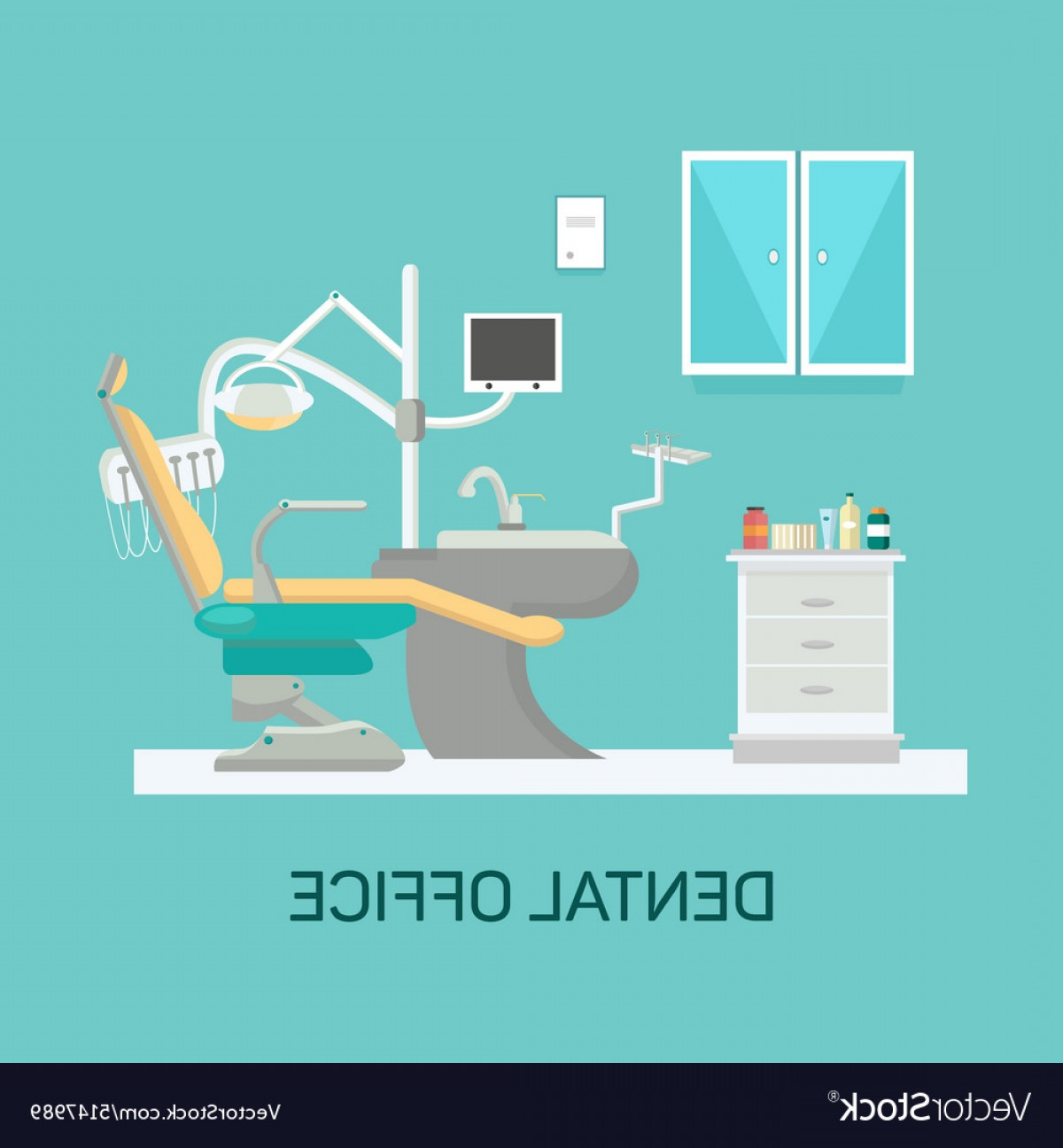 Vector Dental Equipment: Dental Office With Seat And Equipment Tools Vector