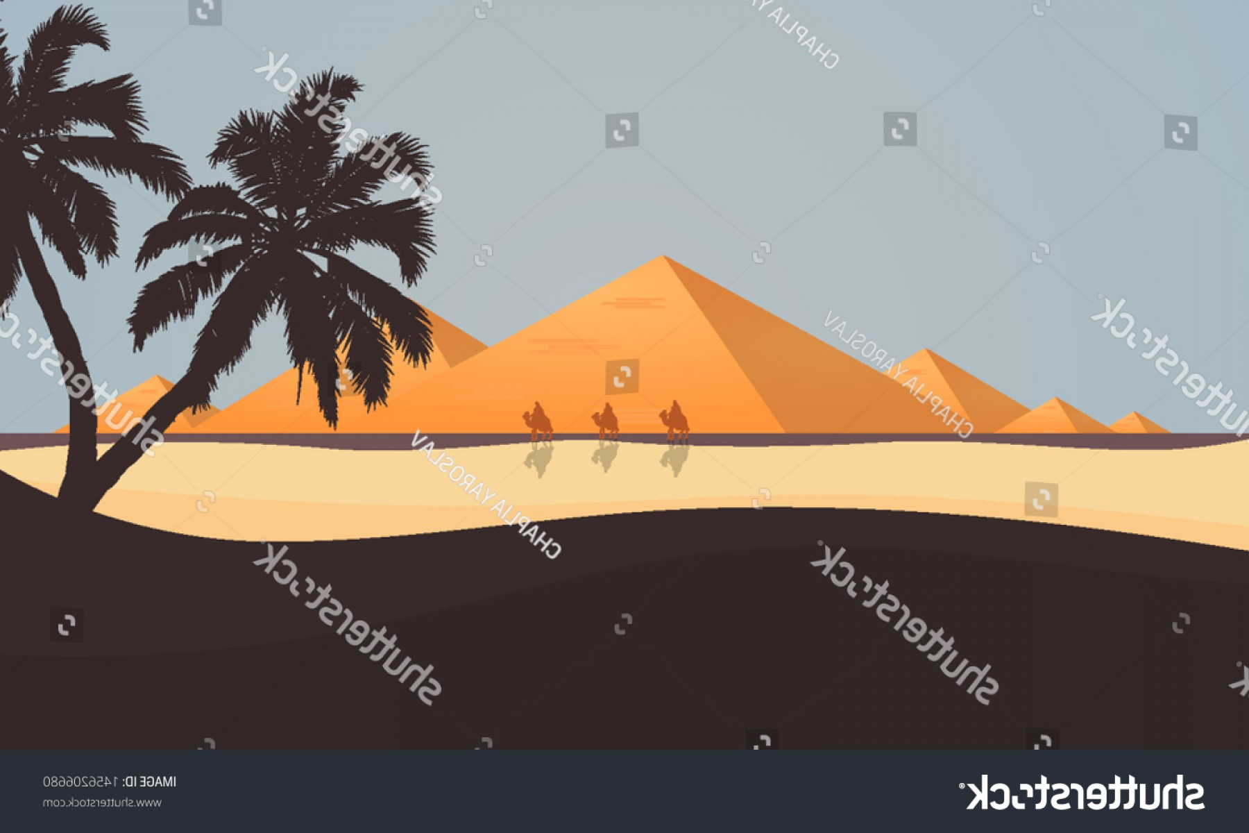 Piramids Vector Art: Desert View Egyptian Pyramids Vector Art