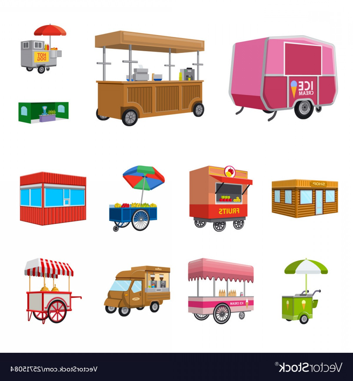 Commercial Booth Vector: Design Booth And Kiosk Icon Set Of Vector