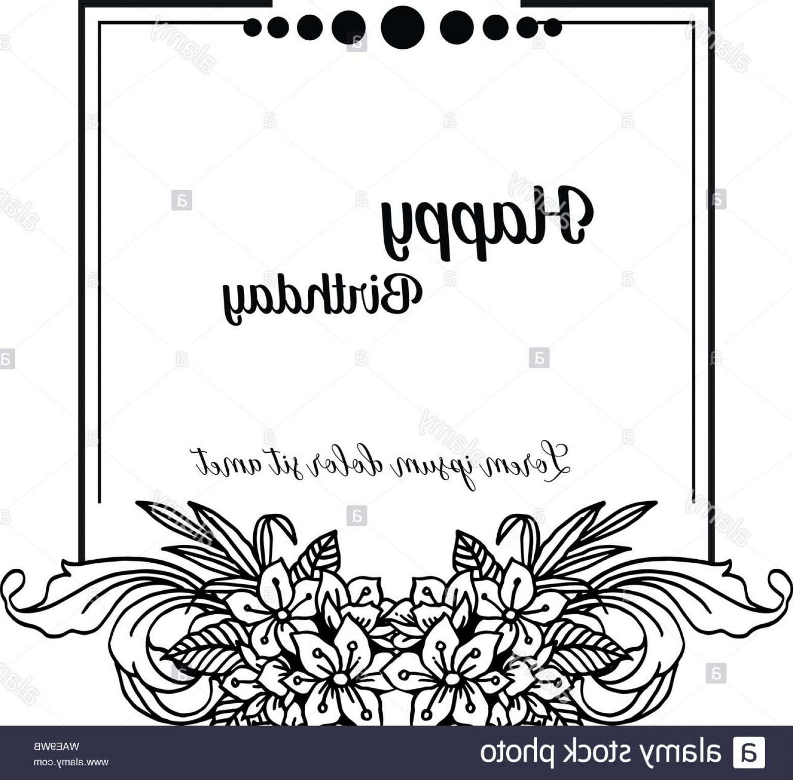 Happy Birthday Vector Art Backdrop: Design Crowd Of Flower Frame Isolated On A White Backdrop For Celebration Invitation Card Happy Birthday Vector Illustration Image
