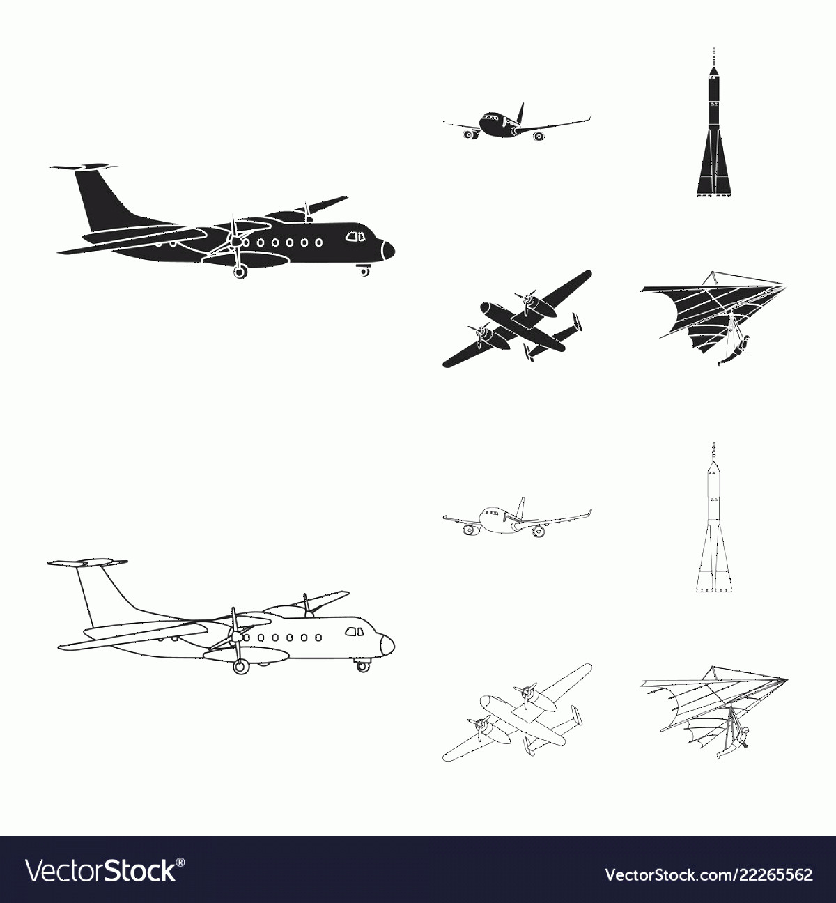 Aviation Vector Designs: Design Of Plane And Transport Logo Vector