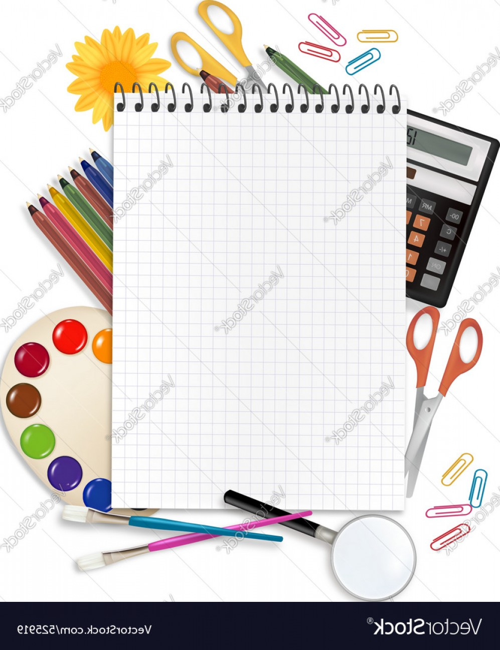 Individual School Supplies Vector: Desing With School Suppliess Set Vector
