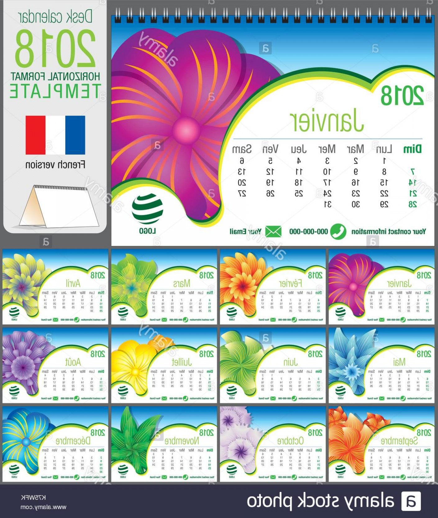 Vector X-15 Art: Desk Triangle Calendar Template With Abstract Floral Design Size Image