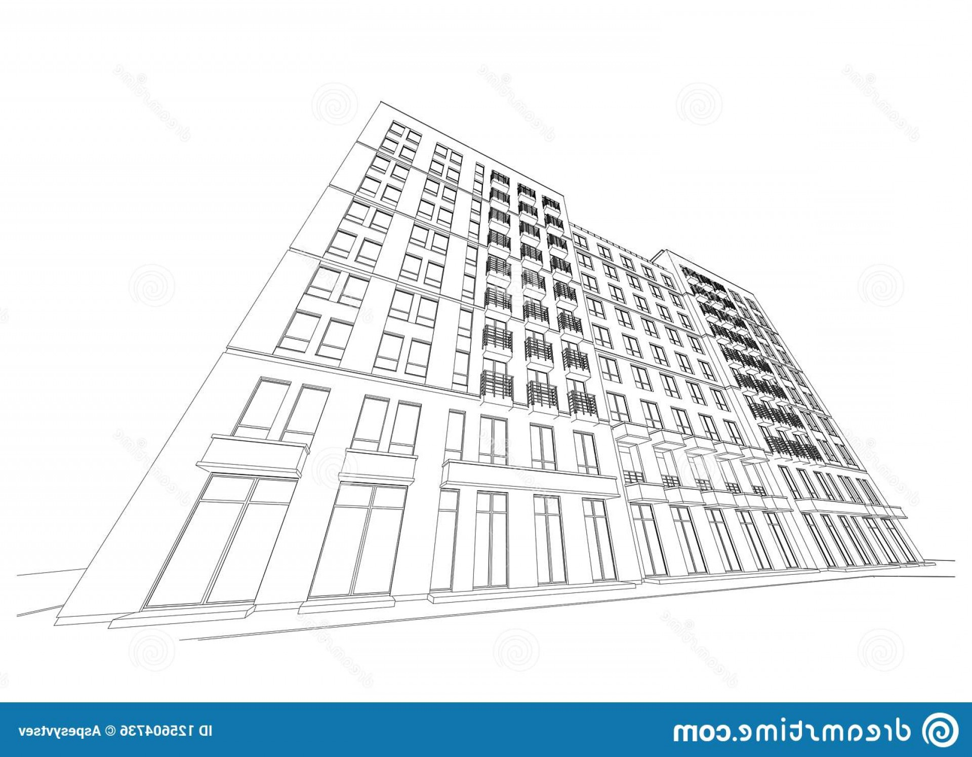 Perspective Vector: Detailed Architectural Plan Multistory Building Diminishing Perspective Vector Illustration Blueprint Image