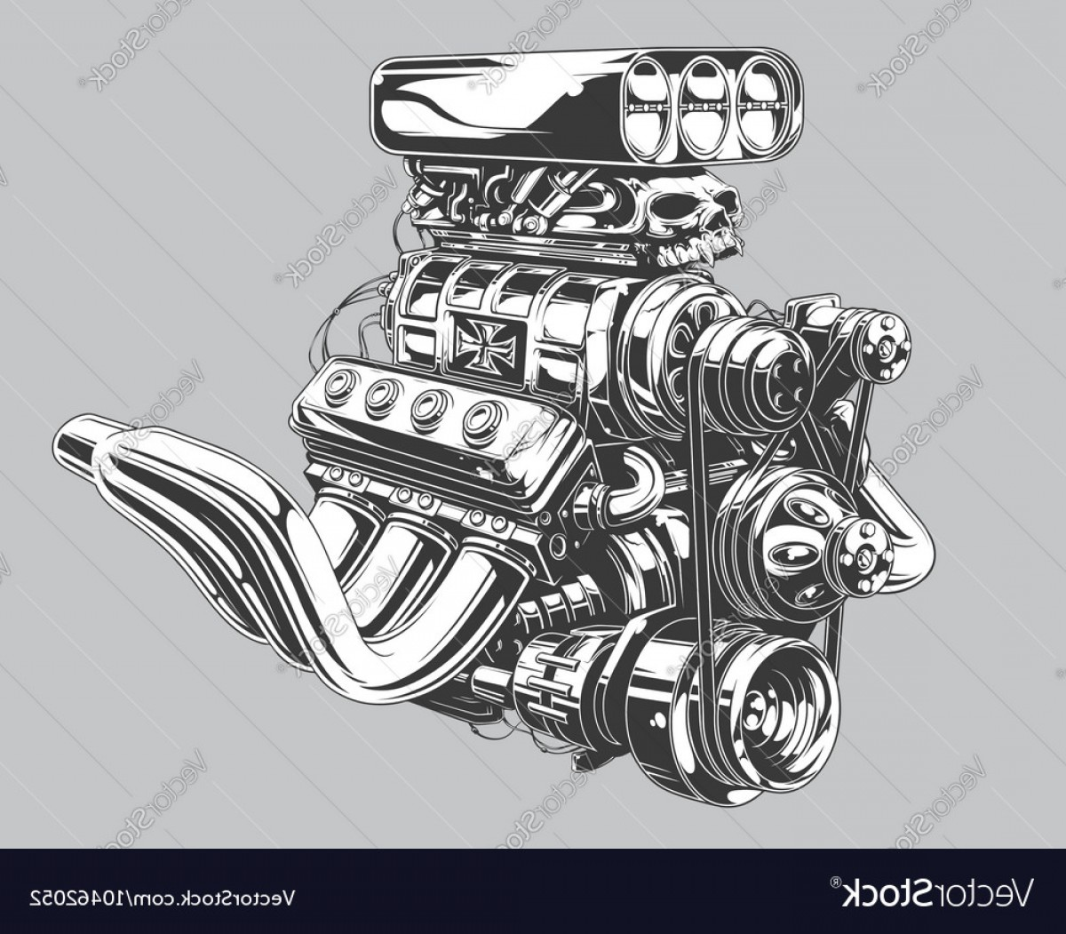 Detailed Tattoo Vector Images: Detailed Hot Road Engine With Skull Tattoo Vector
